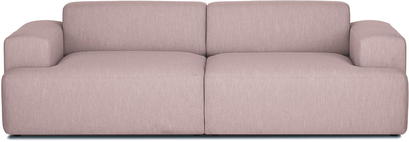 Sofa Melva (3-Sitzer), Bezug: Polyester Der hochwertige, Gestell: Massives Kiefernholz, Spa, Füße: Kiefernholz, Webstoff Rosa, B 240 x T 101 cm