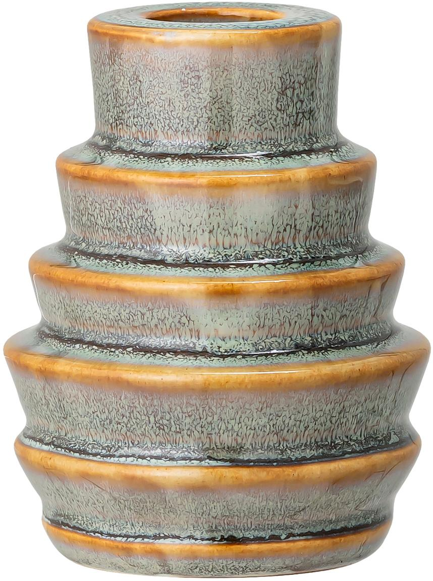 Handgefertigter Kerzenhalter Jory, Steingut, Grün, Braun, Ø 7 x H 9 cm
