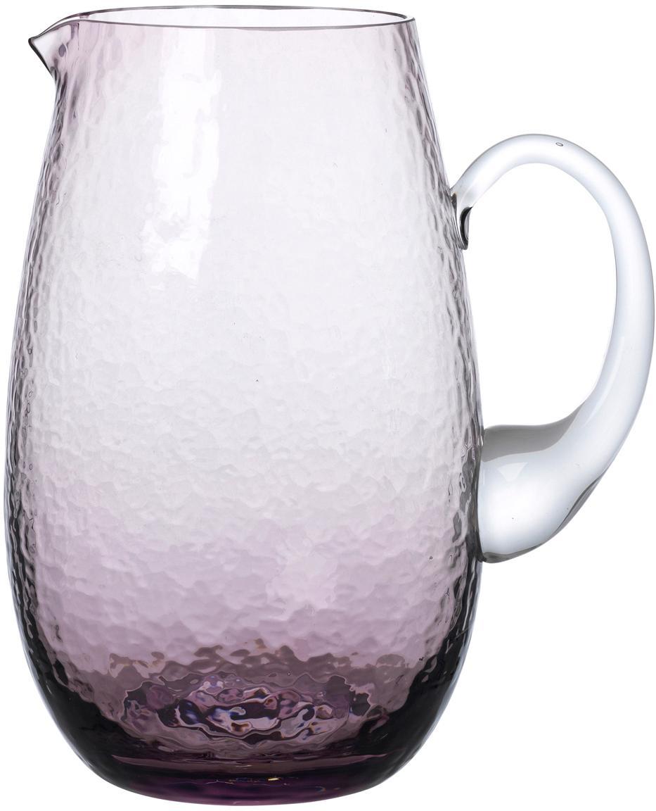Brocca in vetro soffiato Hammered, Vetro soffiato, Lilla trasparente, 2 L