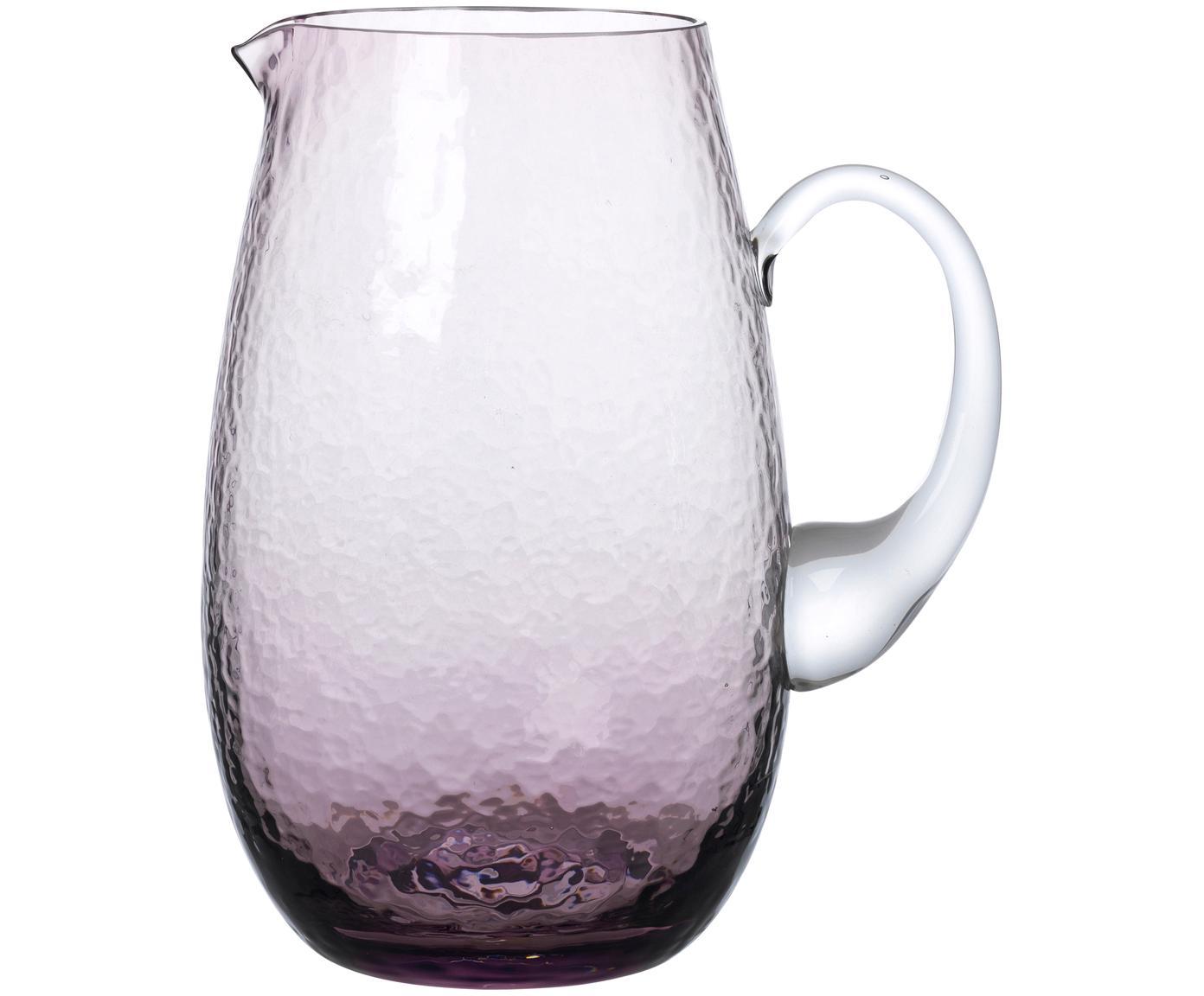 Dzbanek ze szkła dmuchanego Hammered, Szkło dmuchane, Purpurowy, transparentny, 2 l