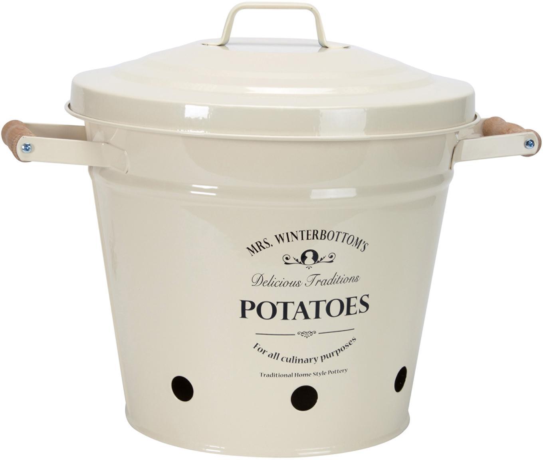 Aufbewahrungseimer Mrs. Winterbottoms Potatoes, Metall, verzinkt und lackiert, Creme, Schwarz, Ø 29 x H 26 cm