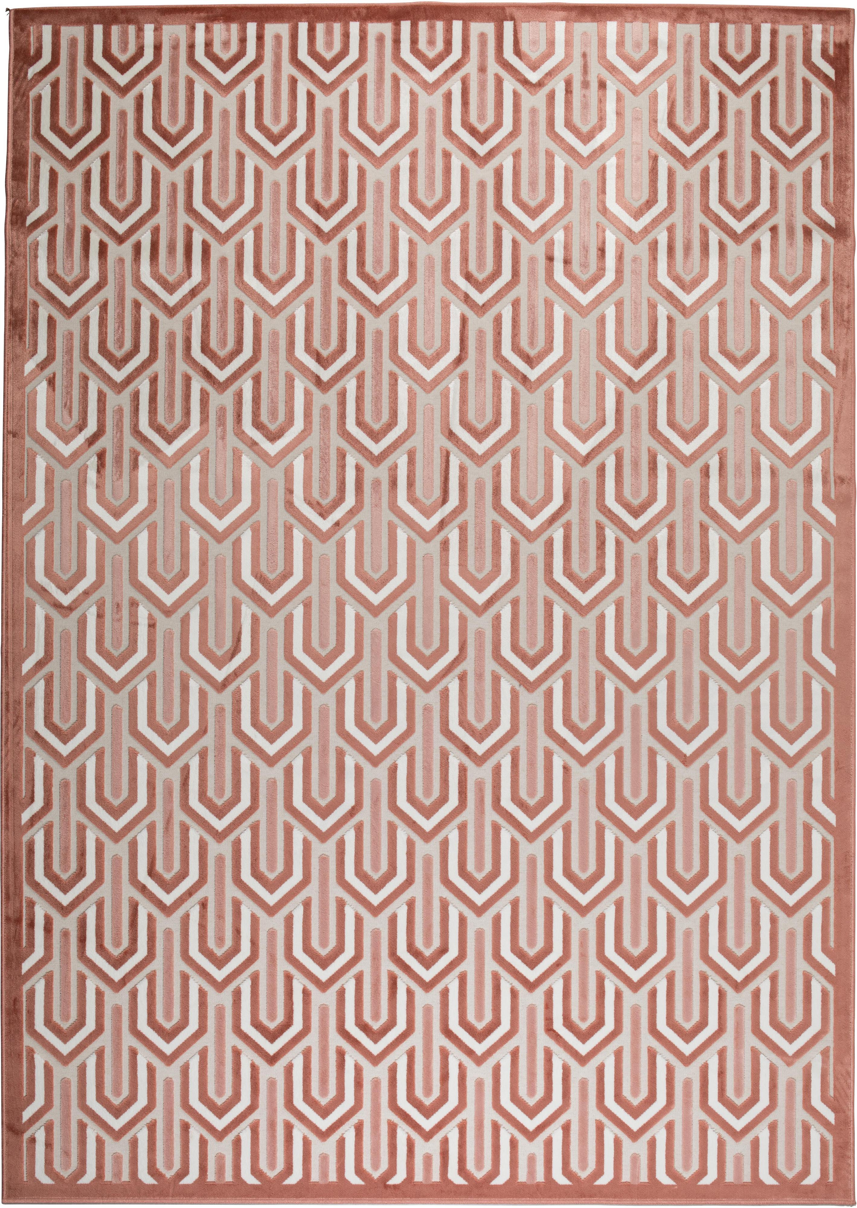 Tappeto con motivo a rilievo Beverly, Retro: lattice, Rosa, rosa cipria, beige chiaro, Larg. 170 x Lung. 240 cm