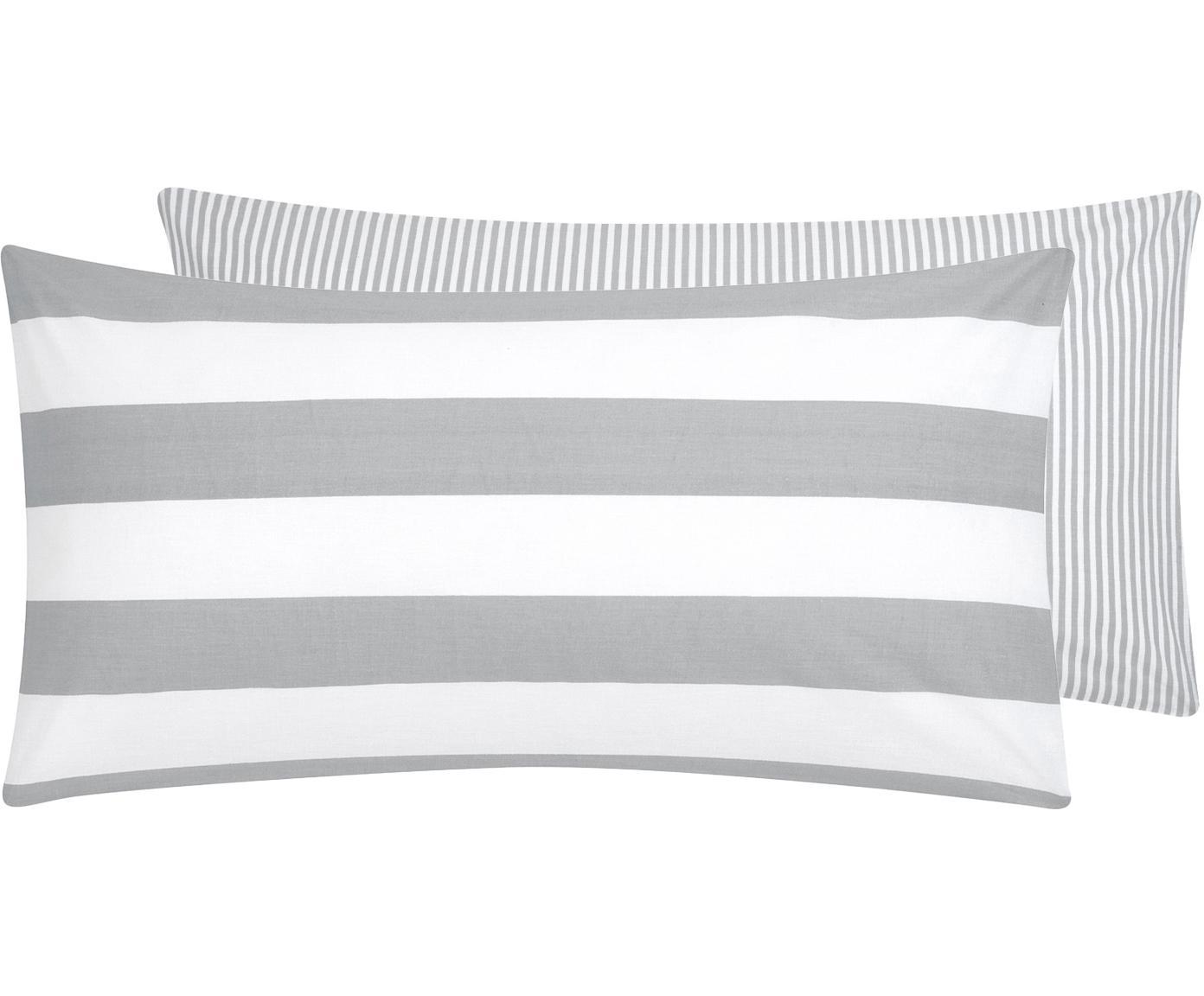 Dwustronna poszewka na poduszkę z bawełny renforcé Lorena, 2 szt., Biały, jasny szary, S 40 x D 80 cm
