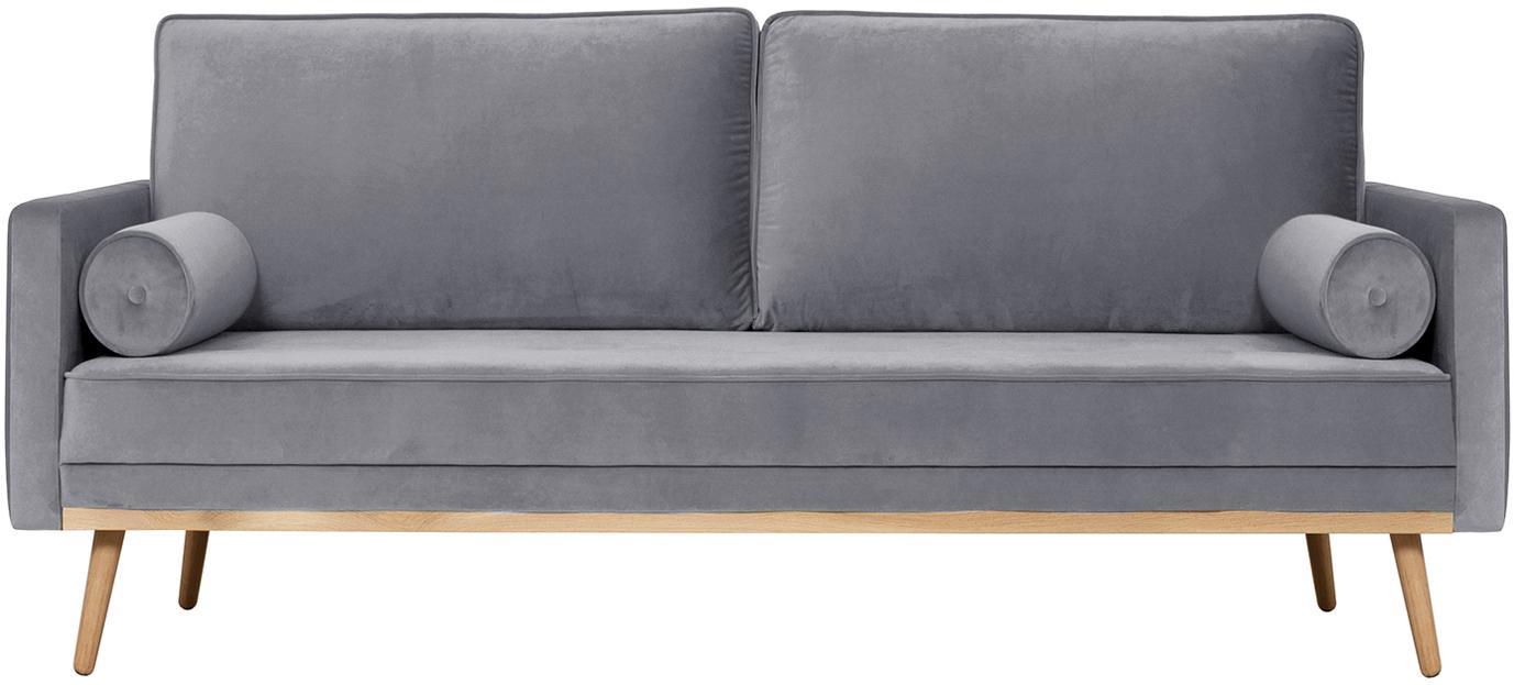 Samt-Sofa Saint (3-Sitzer), Bezug: Samt (Polyester) Der hoch, Gestell: Massives Eichenholz, Span, Samt Grau, B 210 x T 93 cm