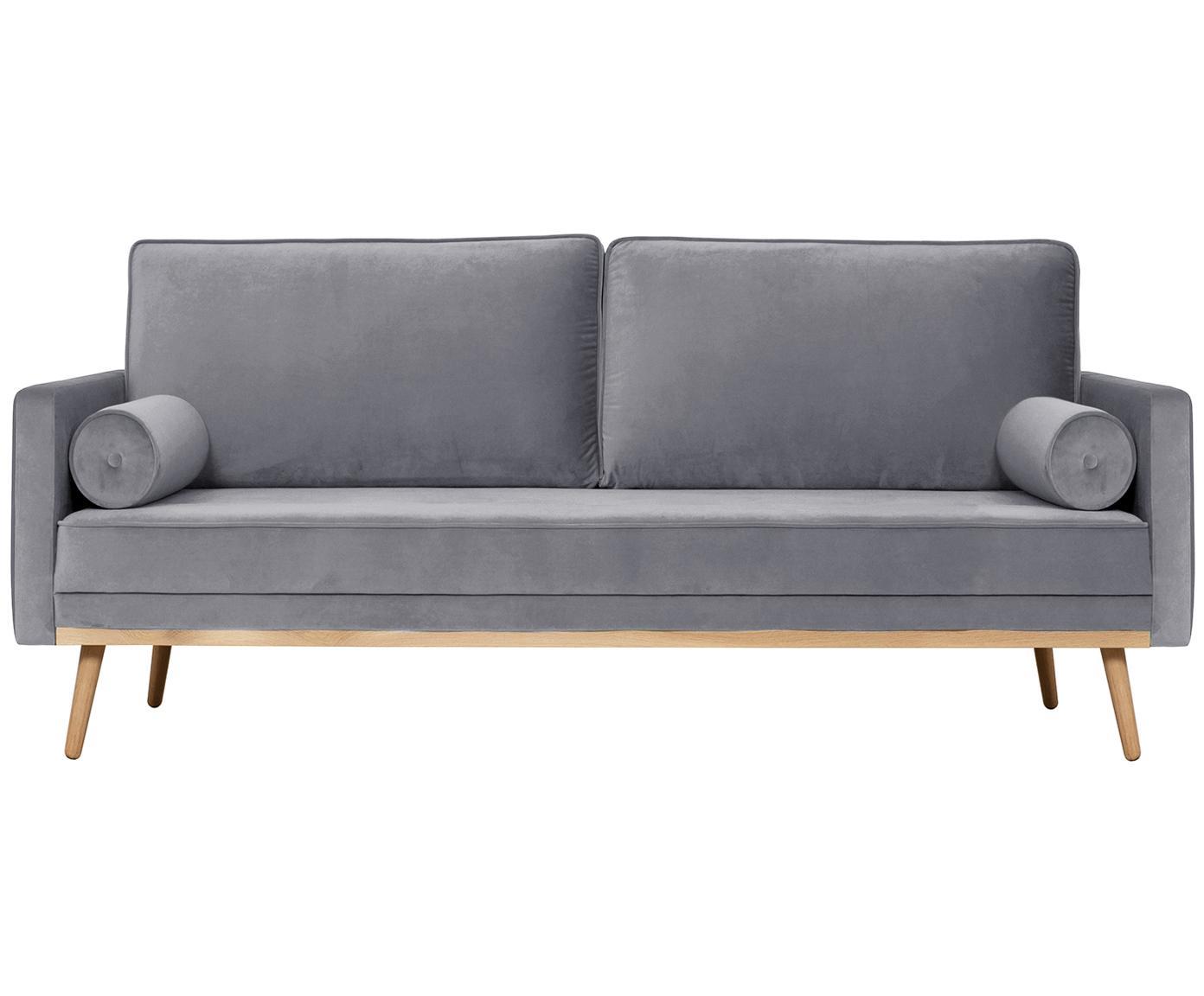 Sofa z aksamitu Saint (3-osobowa), Tapicerka: aksamit (poliester) 3500, Stelaż: lite drewno dębowe, płyta, Szary, S 210 x G 93 cm