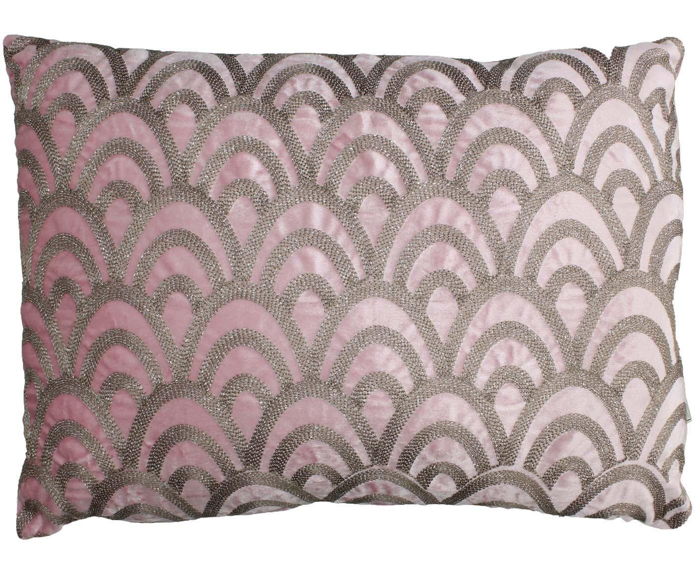 Haftowana poduszka z aksamitu  z wypełnieniem Trole, Aksamit, Różowy, odcienie srebrnego, S 40 x D 60 cm