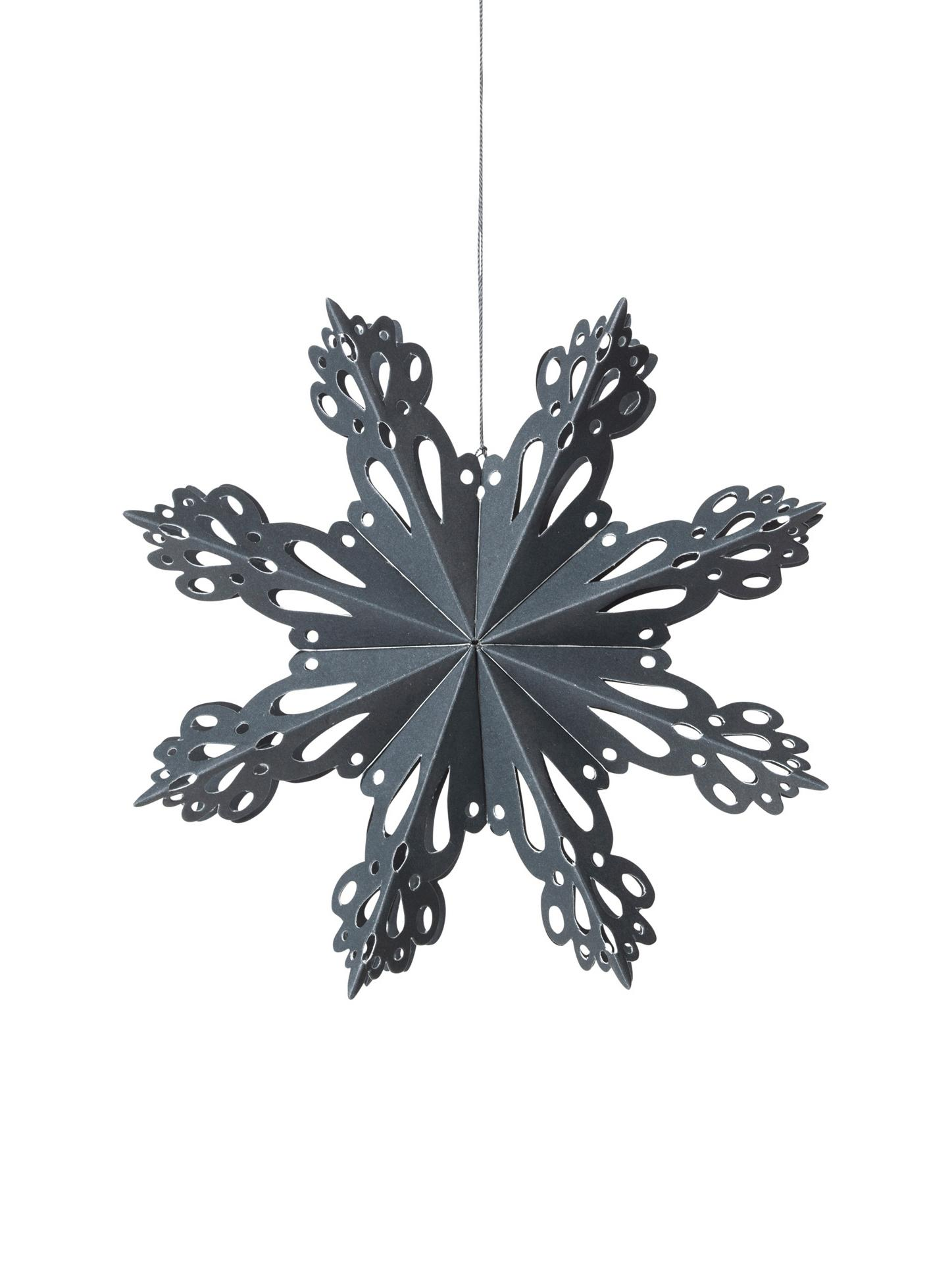 Baumanhänger Snowflake, 2 Stück, Papier, Graublau, Ø 15 cm