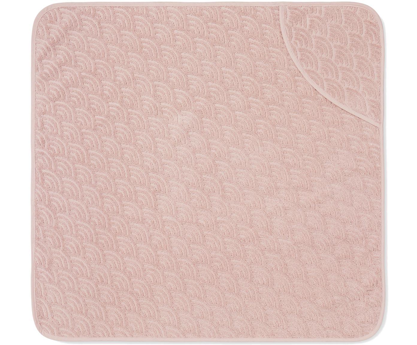 Toalla baño bebé de algodón ecológico Wave, Algodón orgánico, Rosa, An 80 x L 80 cm