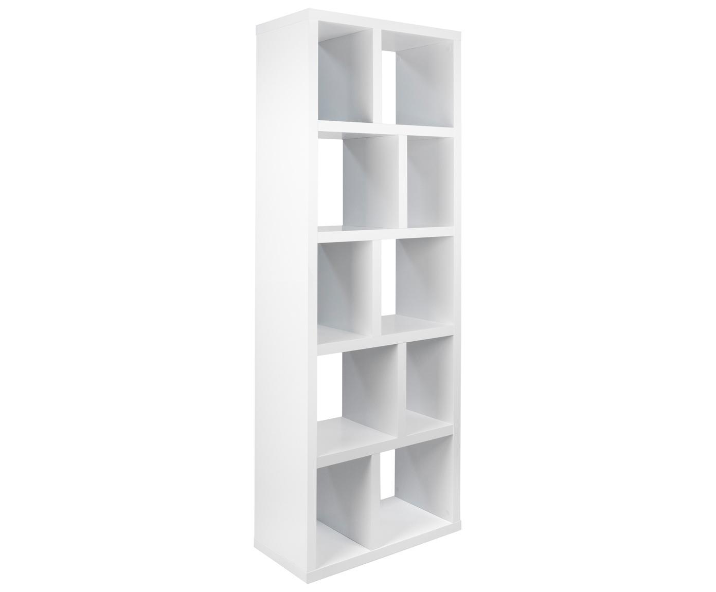 Libreria Portlyn, Rivestimento: fibra a media densità, Superficie: strato melaminico, Bianco opaco, Larg. 70 x Alt. 198 cm