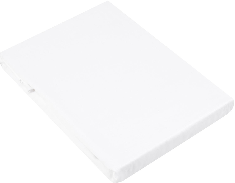 Spannbettlaken Comfort, Baumwollsatin, Webart: Satin, leicht glänzend, Weiß, 180 x 200 cm