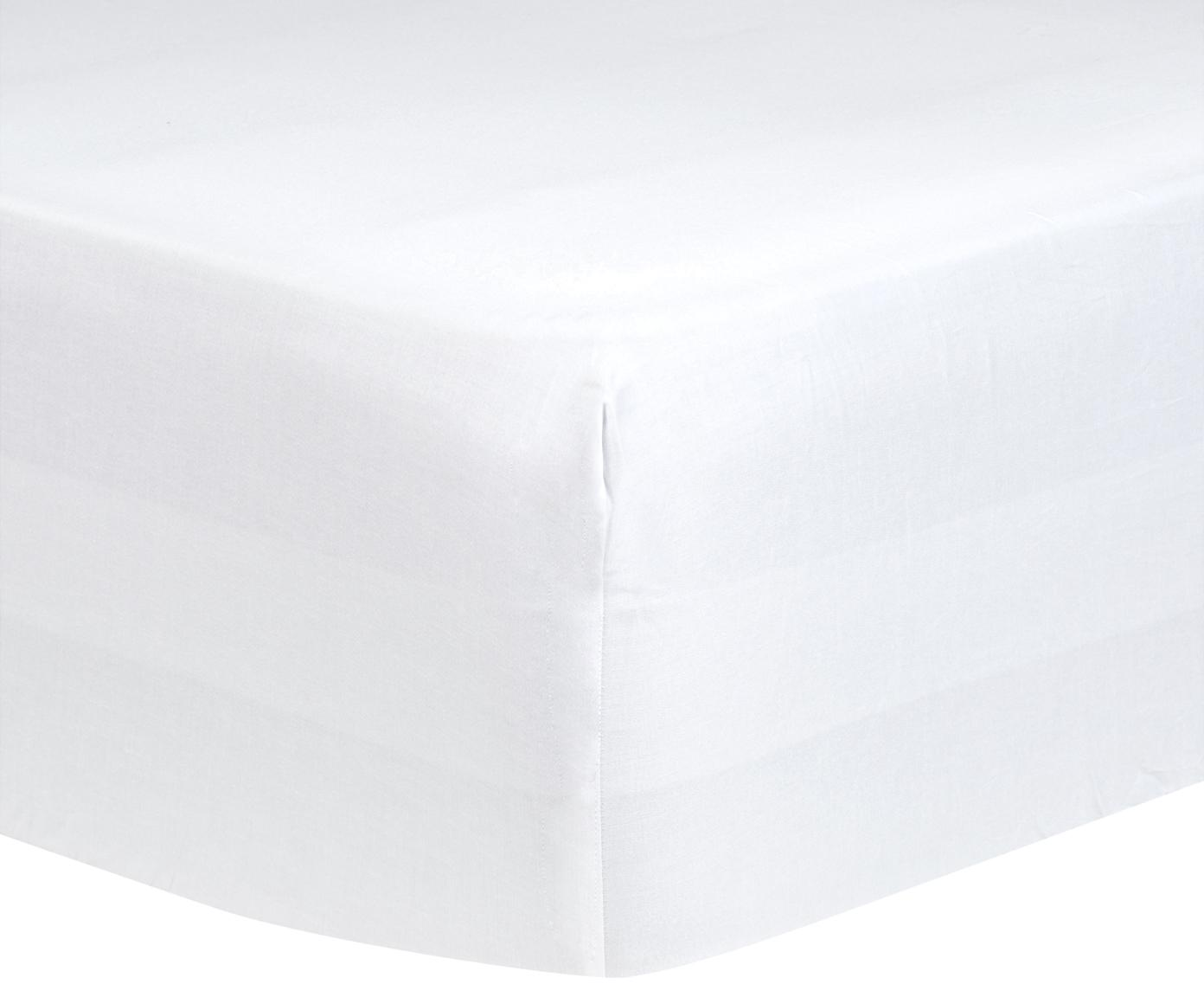Lenzuolo con angoli in raso di cotone Comfort, Bianco, Larg. 140 x Lung. 200 cm