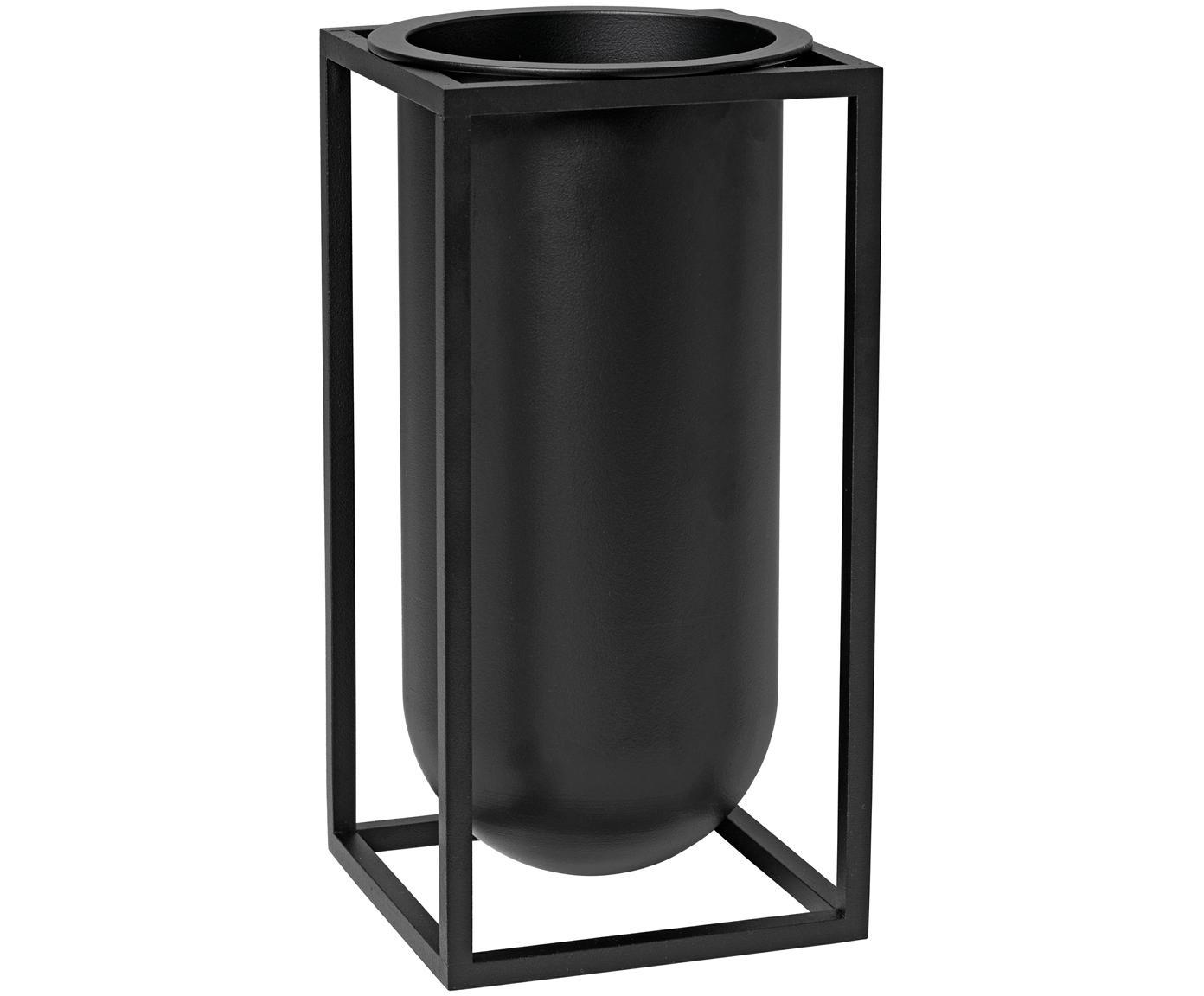Handgemaakte vaas Kubus van aluminium, Gelakt aluminium, Zwart, 10 x 20 cm