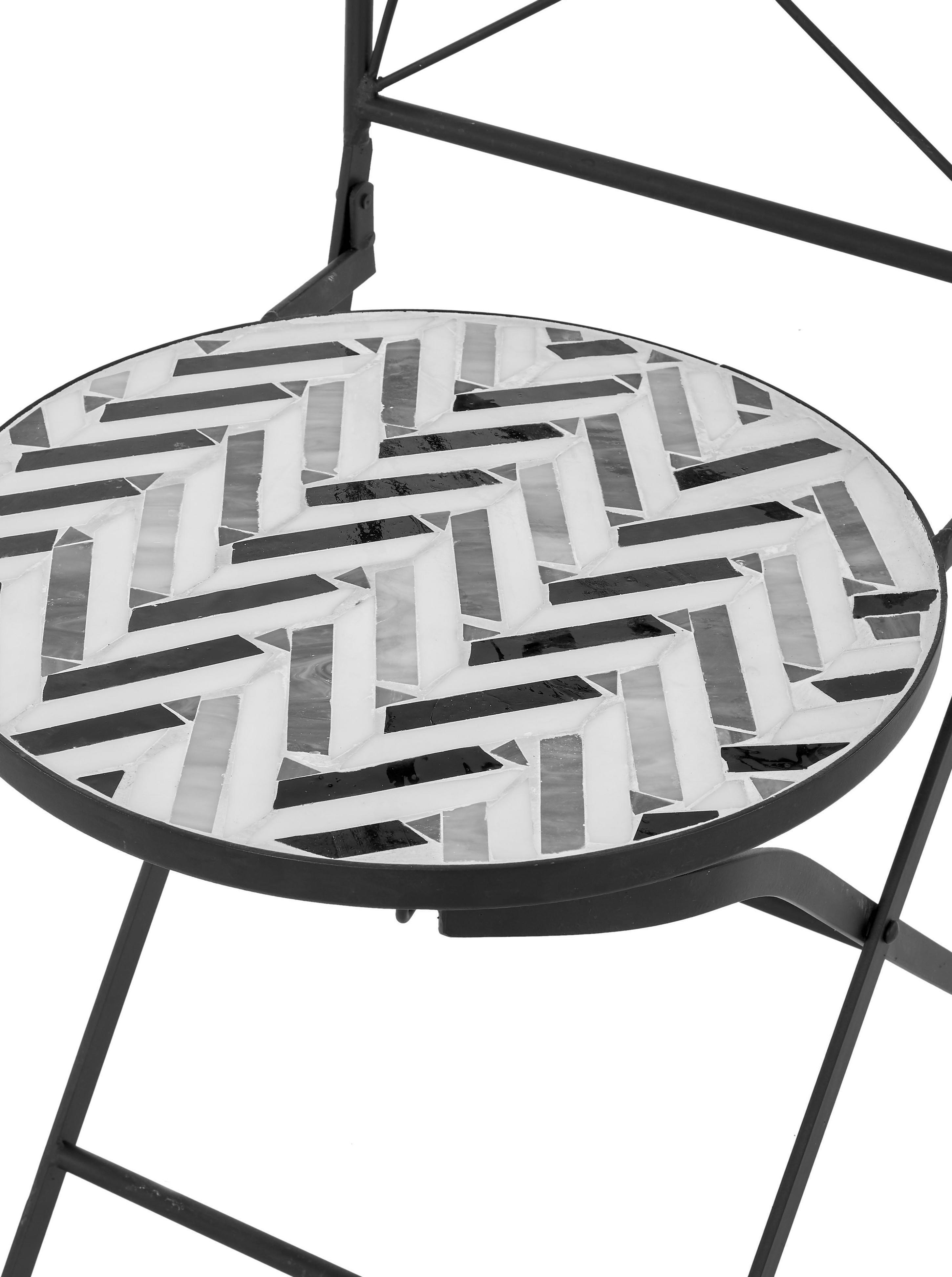 Krzesło balkonowe z mozaiką Verano, 2 szt., Stelaż: metal malowany proszkowo, Szary, biały, czarny, S 40 x G 52 cm