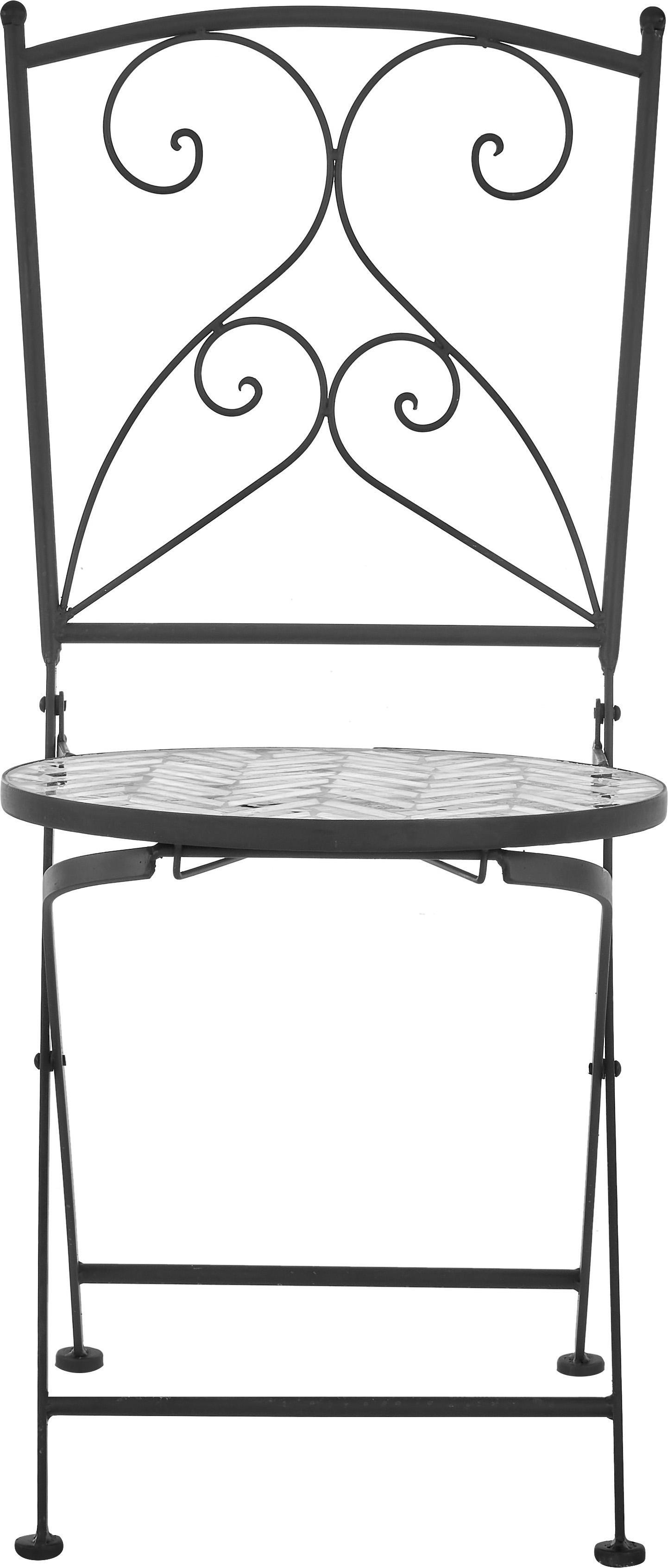 Balkonová židle smozaikou Verano, 2 ks, Šedá, bílá, černá