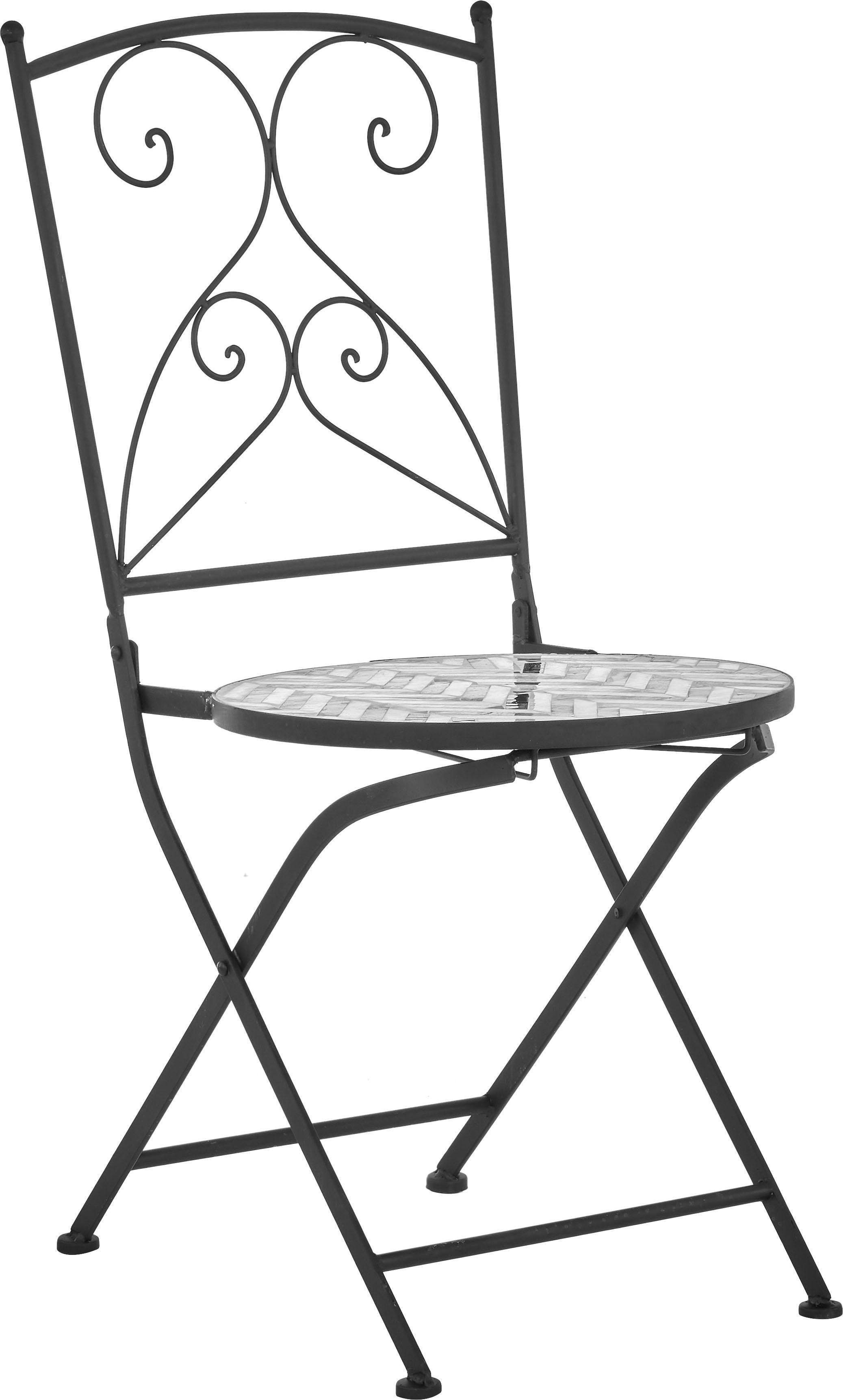 Balkonstühle Verano mit Mosaik, 2 Stück, Gestell: Metall, pulverbeschichtet, Sitzfläche: Steinmosaik, Grau, Weiss, Schwarz, B 40 x T 52 cm