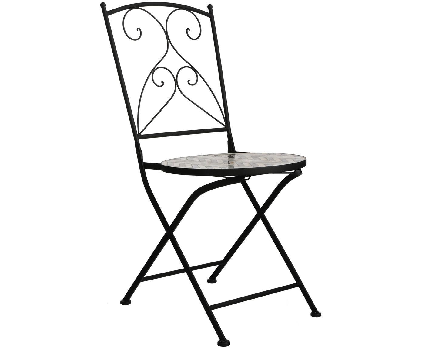 Sillas de balcón Verano, 2uds., Estructura: metal con pintura en polv, Asiento: mosaico de piedras, Gris, blanco, negro, An 40 x F 52 cm