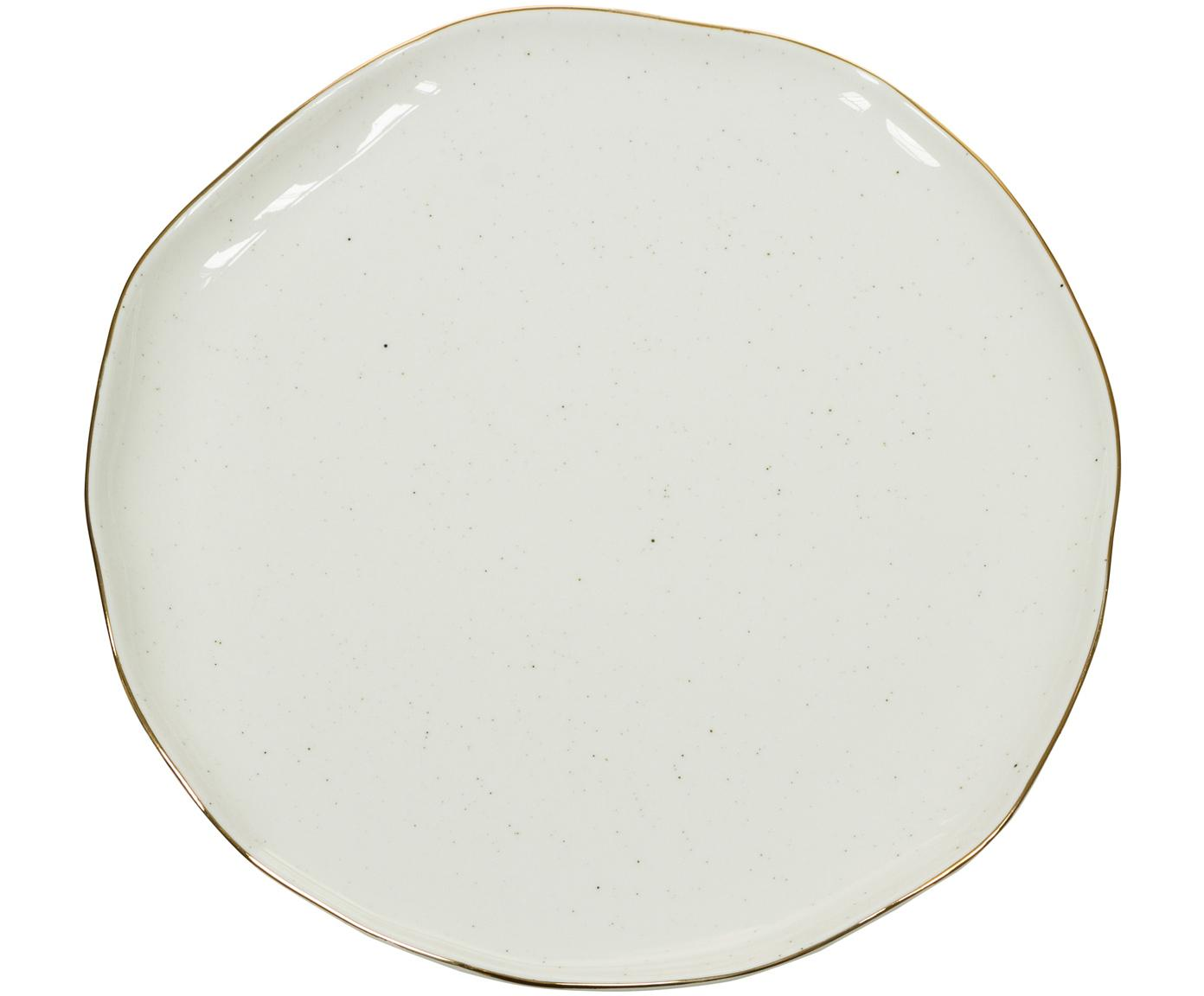 Handgefertigte Frühstücksteller Bol mit Goldrand, 2 Stück, Porzellan, Cremeweiß, Ø 19 x H 3 cm