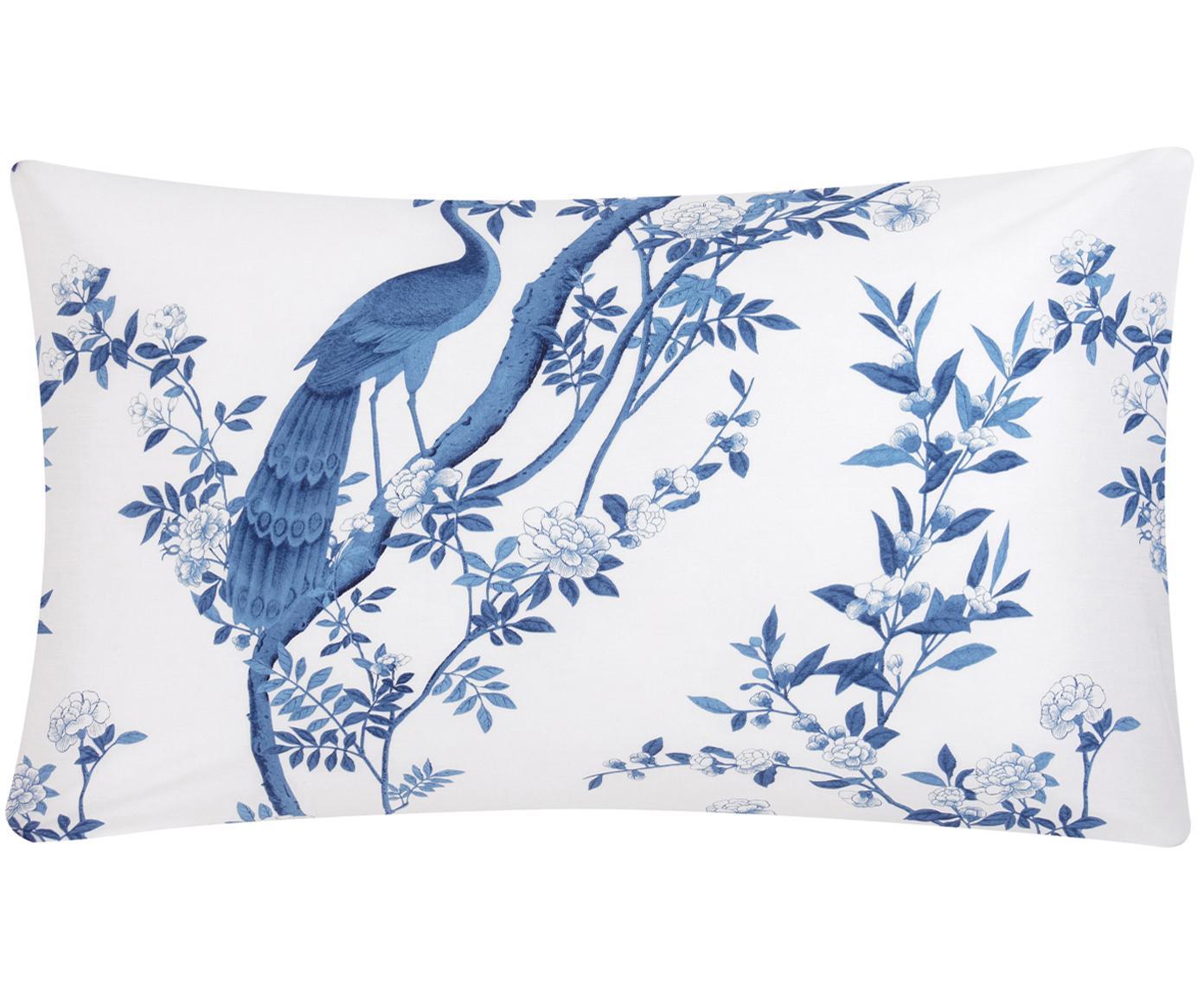 Funda de almohada de percal Annabelle, Blanco, azul, An 45 x L 85 cm