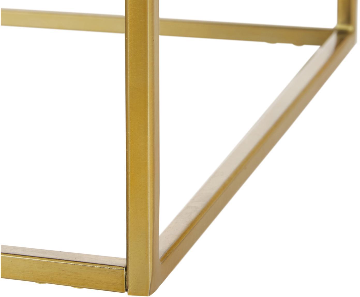 Stolik pomocniczy z marmuru Alys, Blat: marmur, Stelaż: metal malowany proszkowo, Blat: zielony marmur Stelaż: odcienie złotego, błyszczący, S 45 x W 50 cm