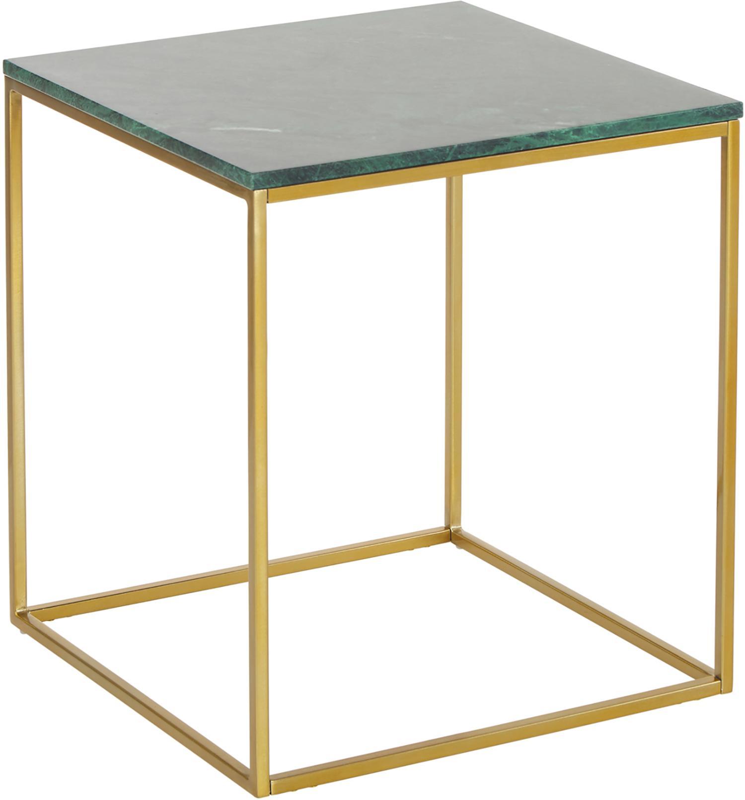 Marmor-Beistelltisch Alys, Tischplatte: Marmor, Gestell: Metall, pulverbeschichtet, Tischplatte: Grüner Marmor Gestell: Goldfarben, glänzend, 45 x 50 cm