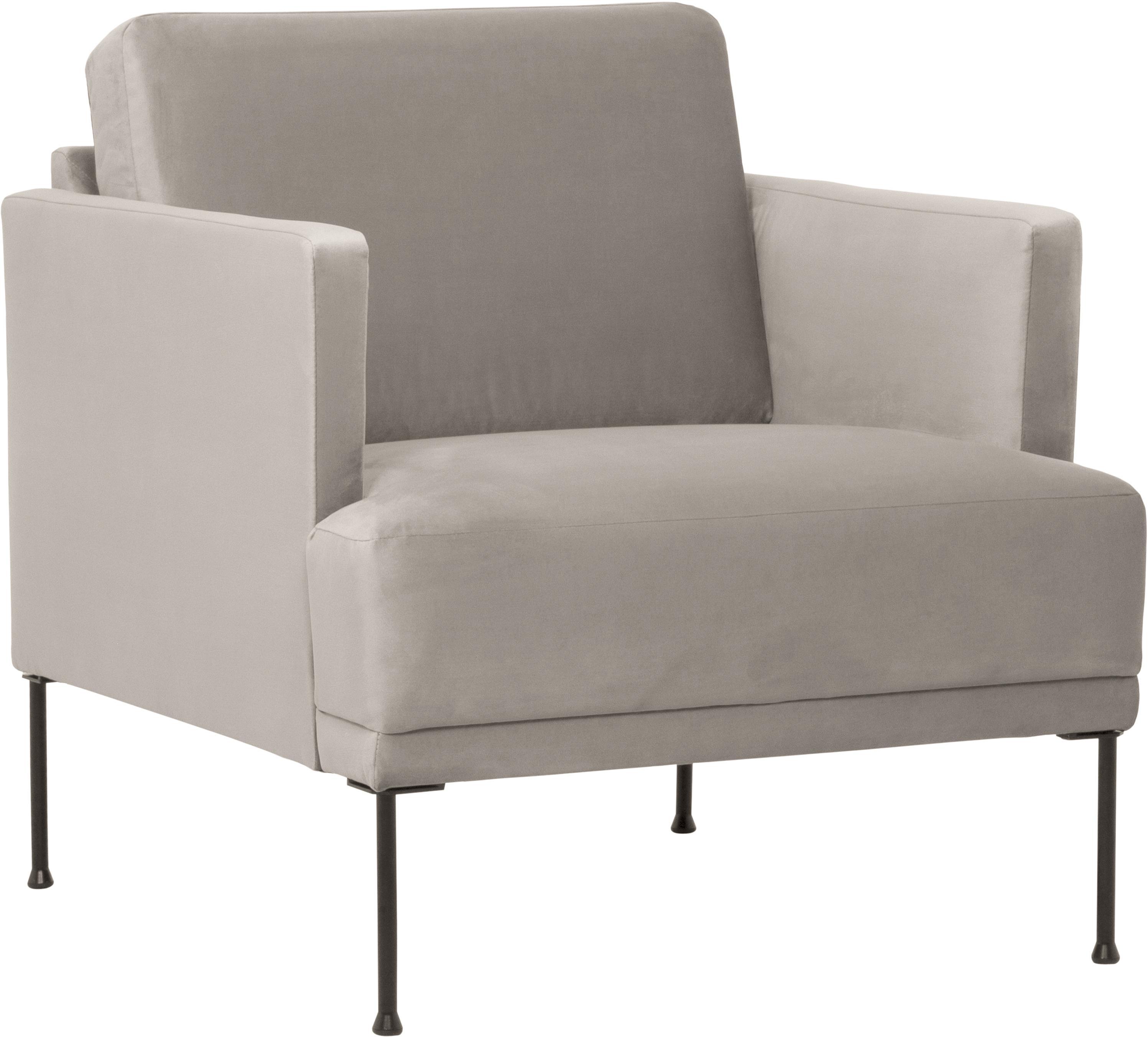 Fotel z aksamitu Fluente, Tapicerka: aksamit (wysokiej jakości, Stelaż: lite drewno sosnowe, Nogi: metal malowany proszkowo, Aksamitny beżowy, S 74 x G 85 cm