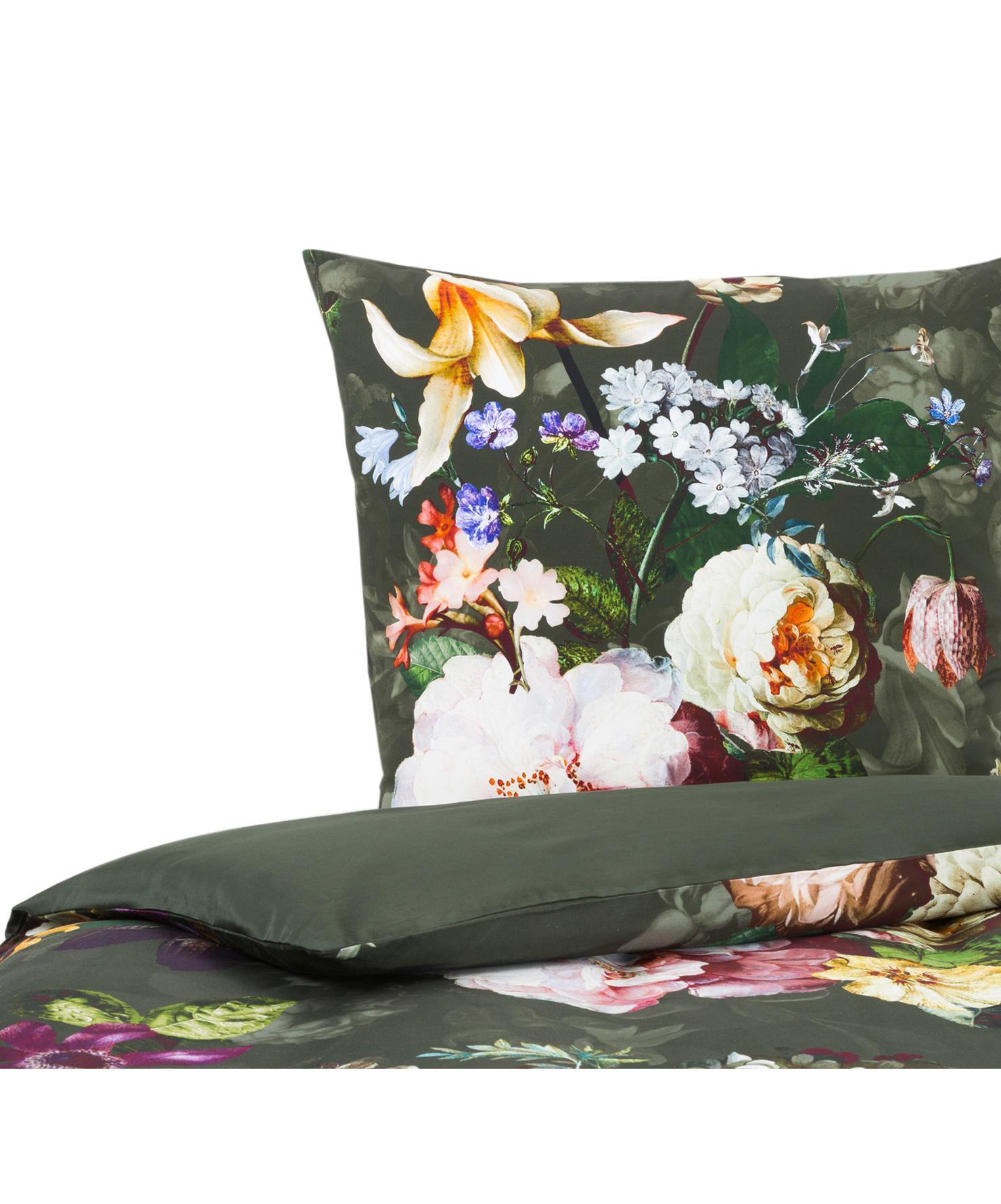 Katoenen dekbedovertrek Fleur, Weeftechniek: satijn Draaddichtheid 209, Groen, 140 x 220 cm