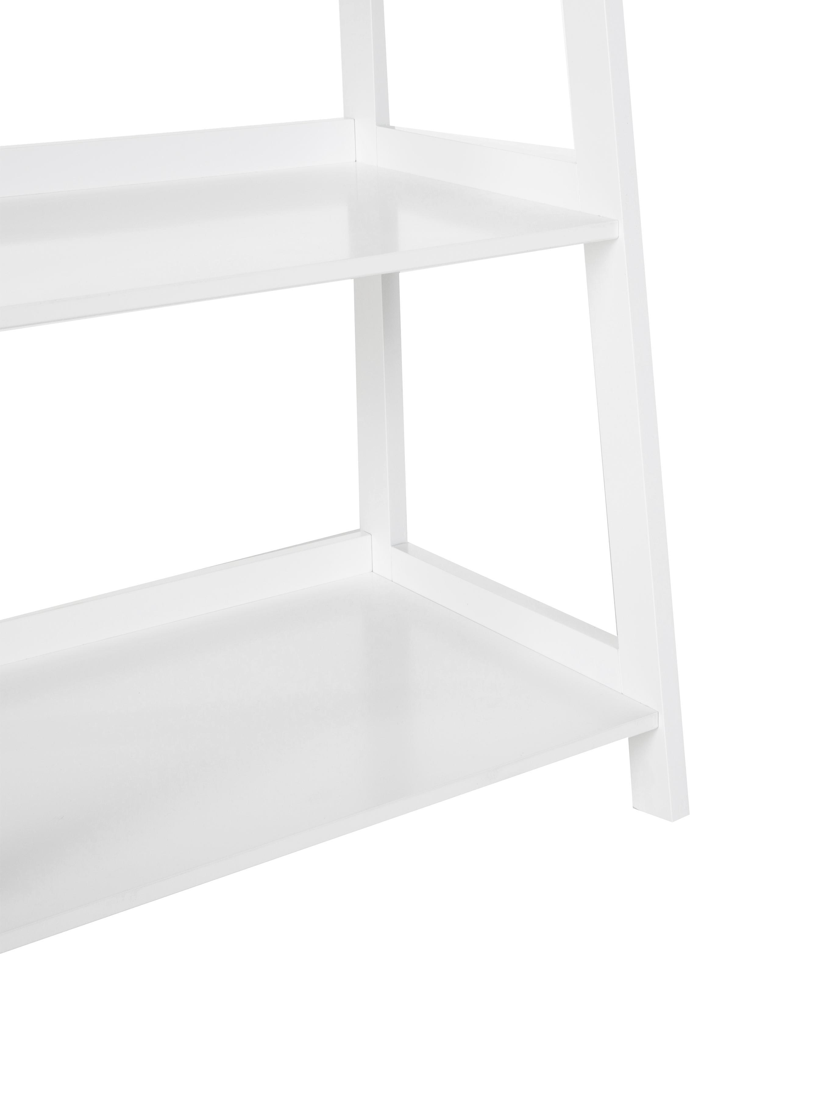 Standregal Wally in Weiss, Mitteldichte Holzfaserplatte (MDF), lackiert, Weiss, hochglanz, 63 x 180 cm