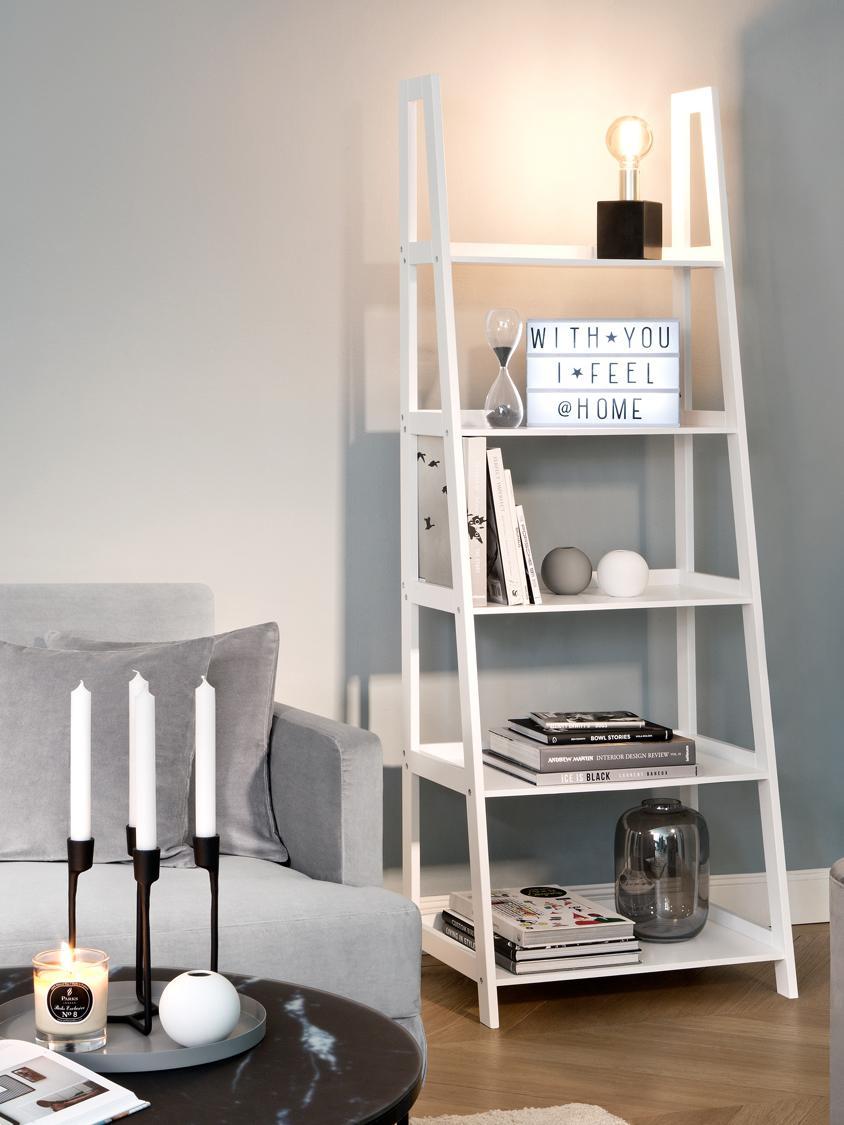 Wandrek Wally in wit, Gelakt MDF, Hoogglanzend wit, 63 x 180 cm
