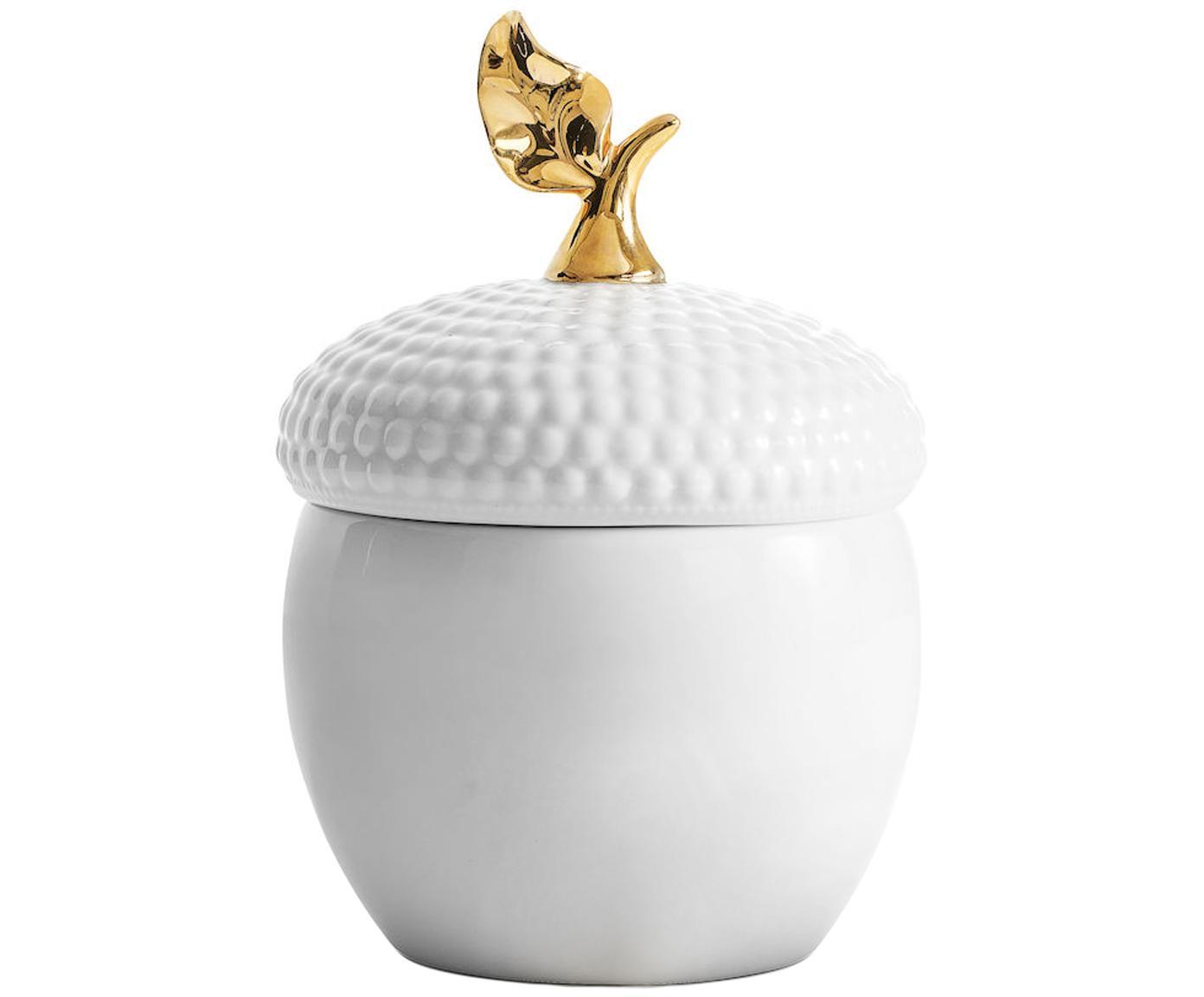 Opbergpot eikel, Keramiek, Wit, goudkleurig, Ø 14 x H 20 cm