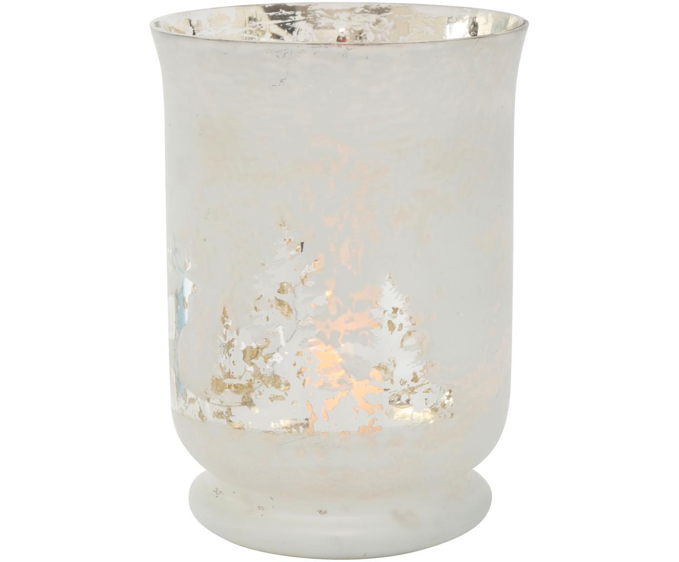 Portacandela Bonaparte, Vetro verniciato, Bianco latteo, argento, Ø 14 x Alt. 19 cm