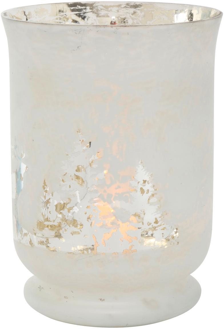 Windlicht Bonaparte, Glas, lackiert, Gebrochenes Weiß, Silberfarben, Ø 14 x H 19 cm