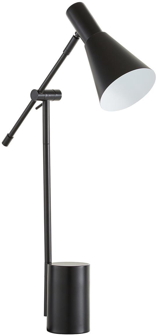 Lámpara de escritorio grande Sia, Pantalla: metal con pintura en polv, Cable: cubierto en tela, Negro, An 13 x Al 63 cm