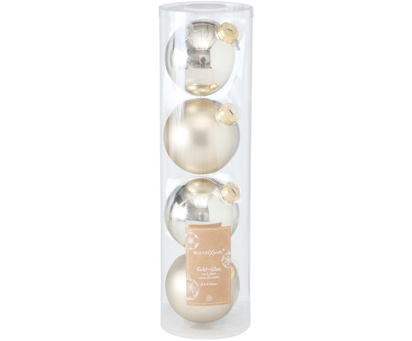 Weihnachtskugel-Set Lorene Ø10cm, 4-tlg., Champagnerfarben, matt und glänzend, Ø 10 cm