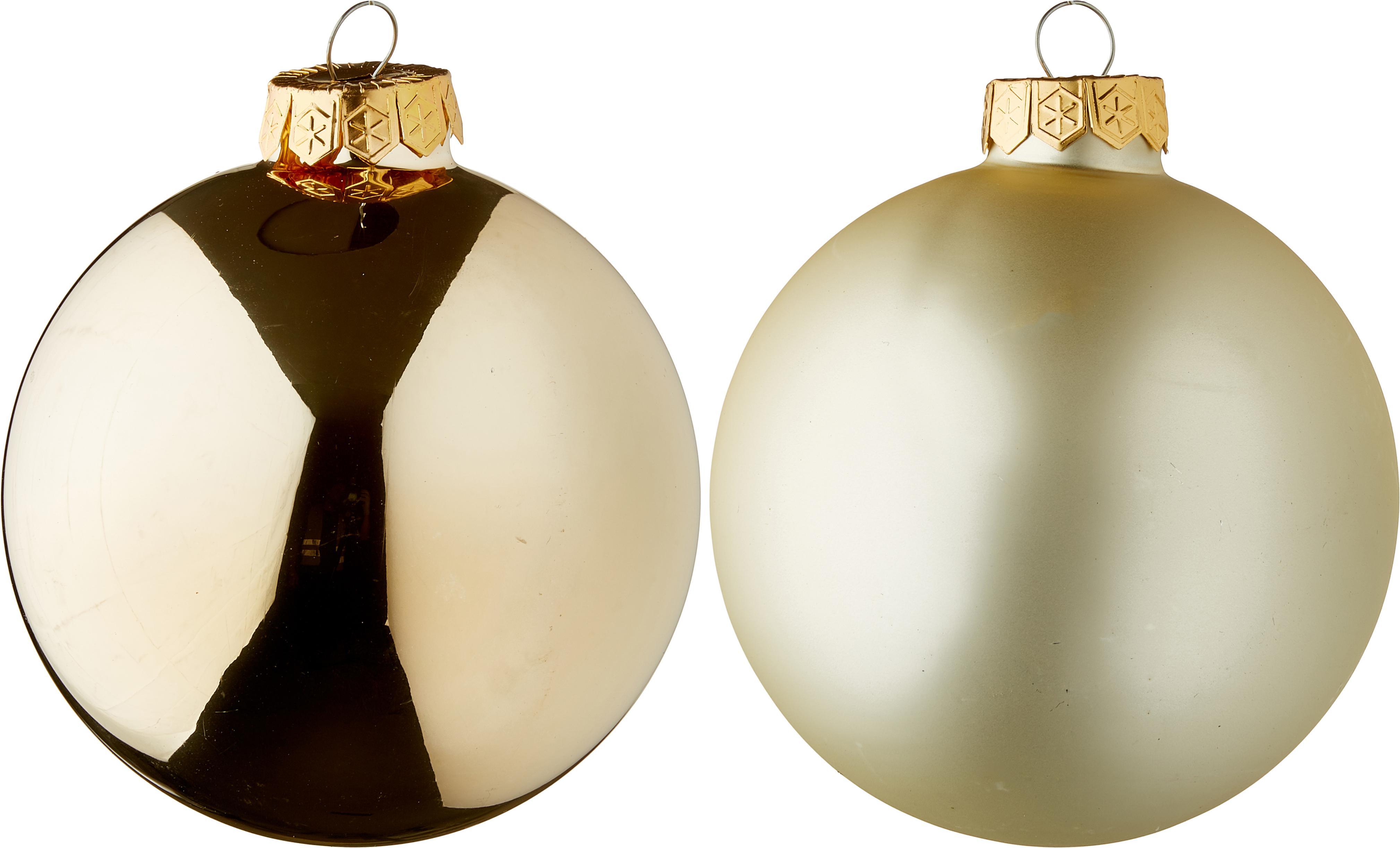 Set palline di Natale Lorene Ø 10 cm 4 pz, Champagne, opaco e lucido, Ø 10 cm
