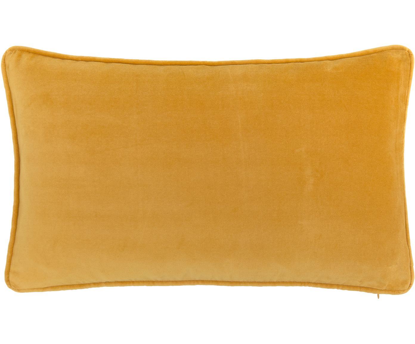 Effen fluwelen kussenhoes Dana in okergeel, Katoenfluweel, Okergeel, 30 x 50 cm