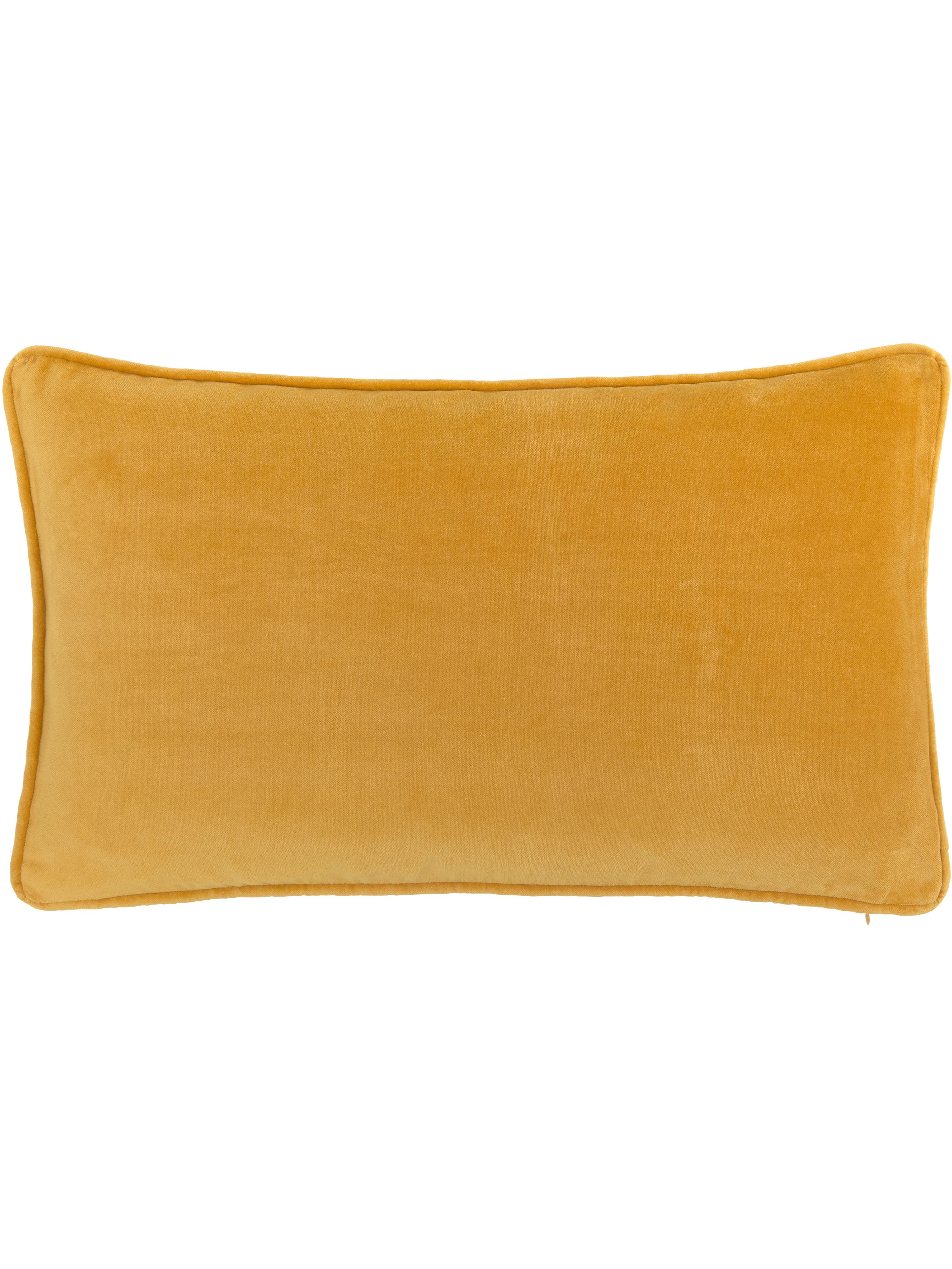 Funda de cojín de terciopelo Dana, Terciopelo de algodón, Ocre, An 30 x L 50 cm