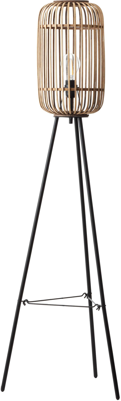 Stehlampe Woodrow, Lampenschirm: Rattan, Lampenfuß: Metall, Rattan, Schwarz, Ø 45 x H 130 cm