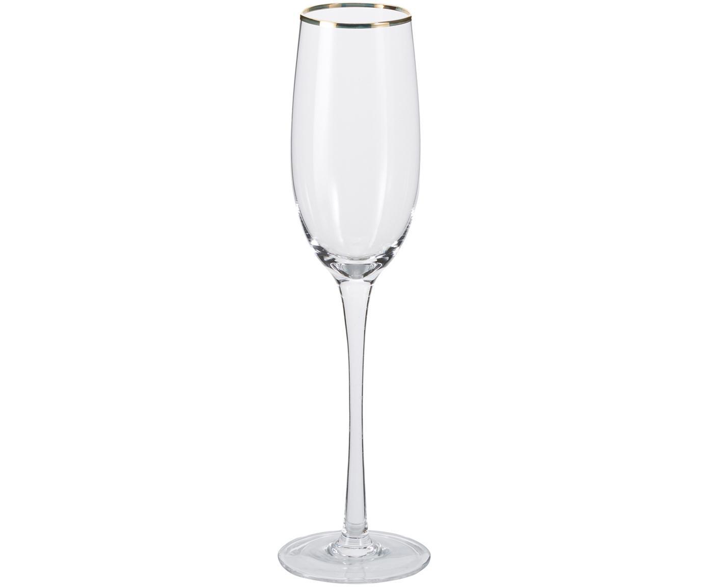 Champagneglazen Chloe in transparant met handgeschilderde goudkleurig rand, 4er-set, Glas, Transparant, Ø 7 x H 25 cm