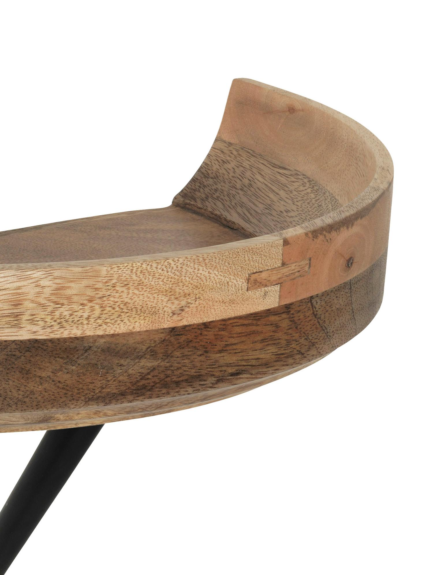 Design-Wandregal Bowl, Ablagefläche: Mangoholz, gebeizt, Strebe: Metall, pulverbeschichtet, Ablagefläche: MangoGestell: Schwarz, B 40 x T 27 cm