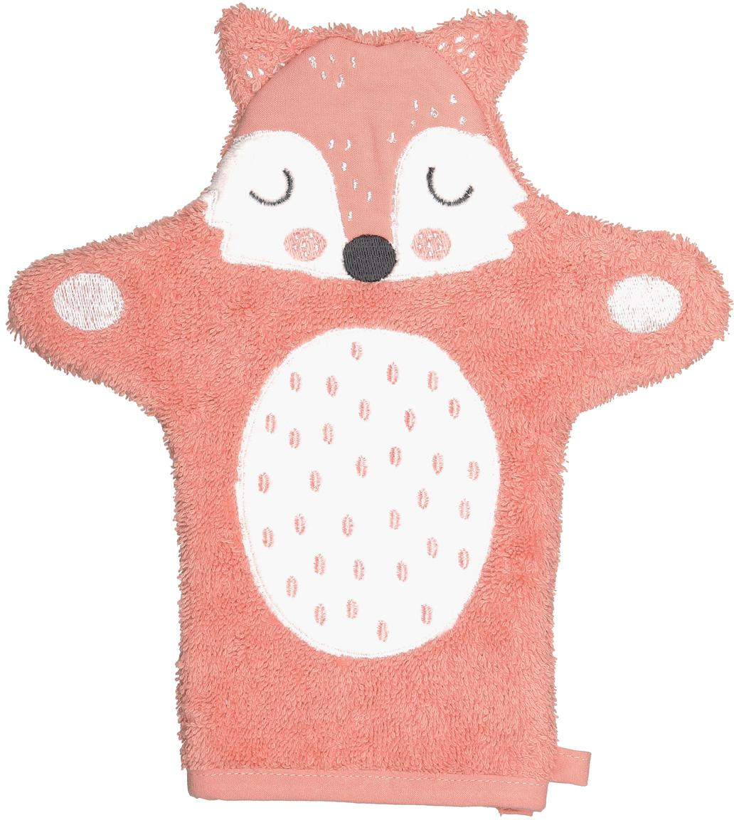 Washandje Fox Frida, Organisch katoen, GOTS-gecertificeerd, Roze, wit, zwart, 11 x 21 cm