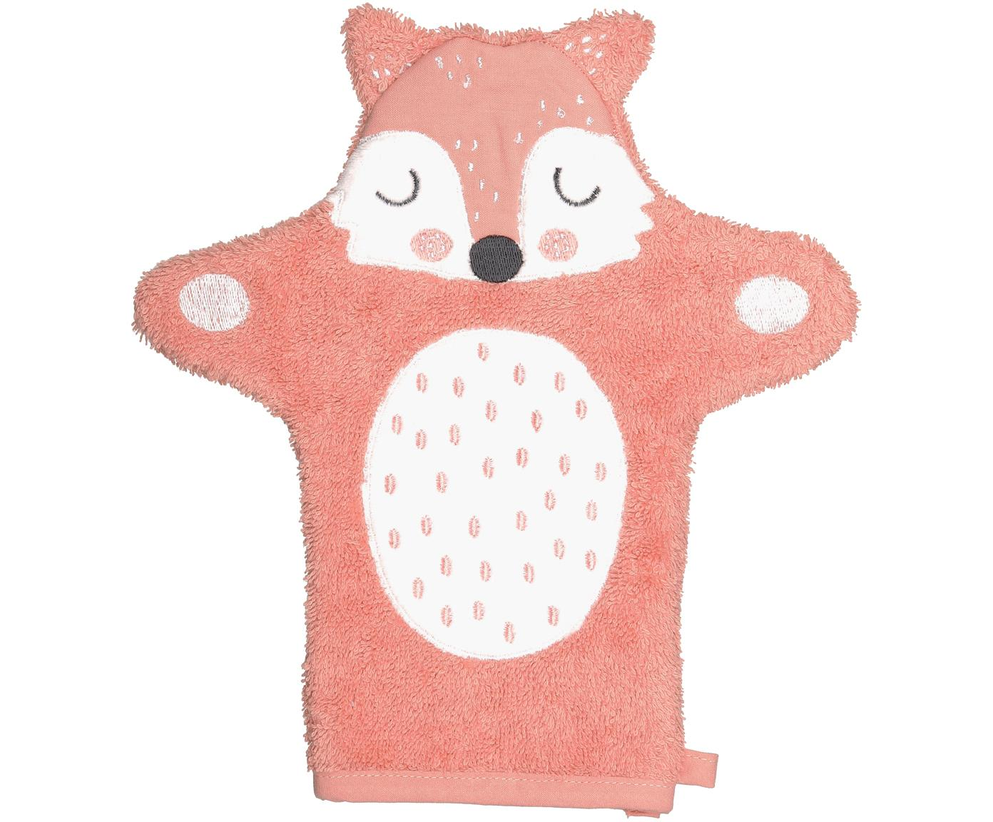 Guanto per bagnetto in cotone organico Fox Frida, Cotone organico, certificato GOTS, Rosa, bianco, nero, Larg. 21 x Lung. 26 cm