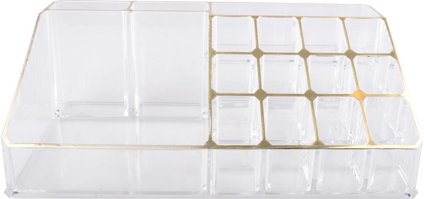 Organizer na kosmetyki Malla, Tworzywo sztuczne, Transparentny, odcienie złotego, S 22 x W 8 cm