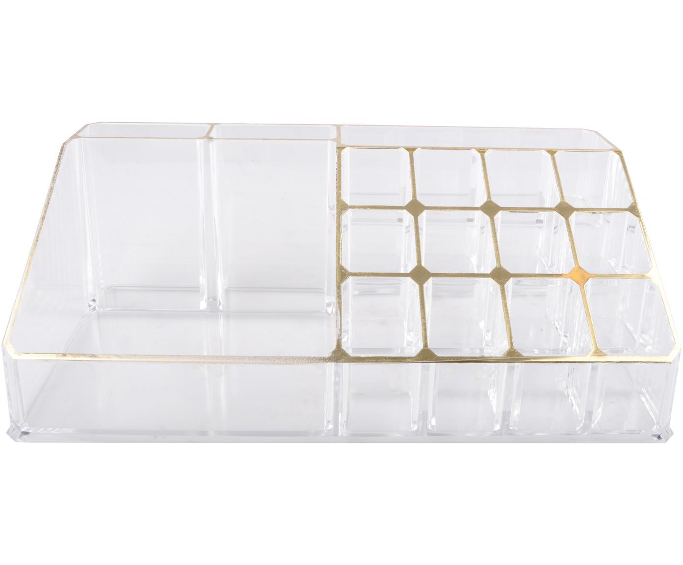 Kosmetik-Organizer Malla, Kunststoff, Transparent, Goldfarben, 22 x 8 cm