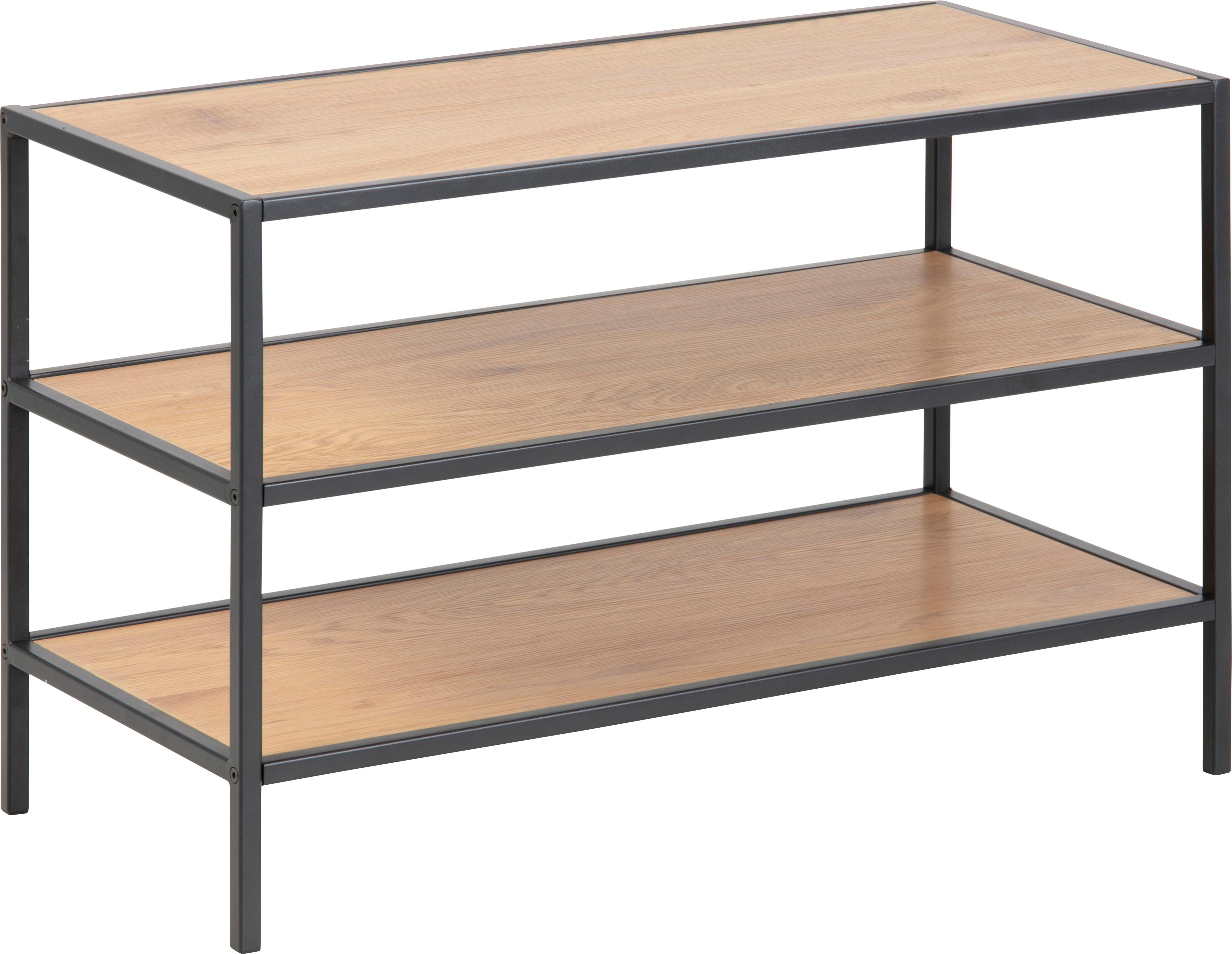 Schoenenrek Seaford van hout en metaal, Plank: MDF (medium-density fibre, Frame: gepoedercoat metaal, Wild eikenhout, 77 x 50 cm
