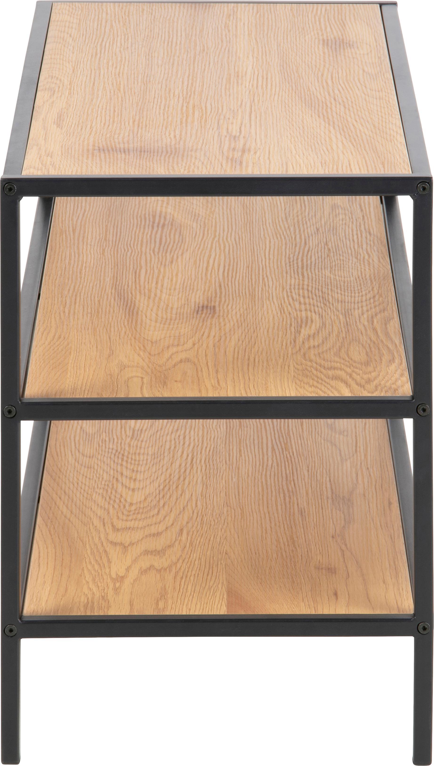 Schuhregal Seaford aus Holz und Metall, Gestell: Metall, pulverbeschichtet, Wildeichenholz, 77 x 50 cm