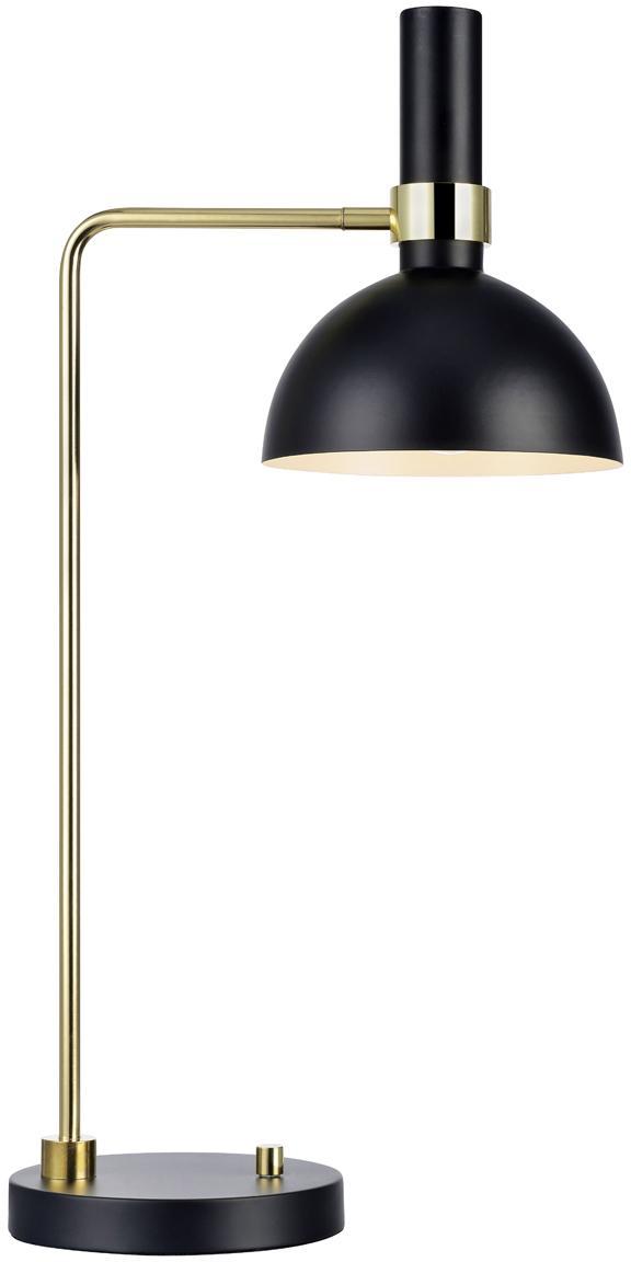 Dimmbare XL Schreibtischlampe Larry, Lampenfuß: Messing, Schwarz,Messing, 33 x 65 cm