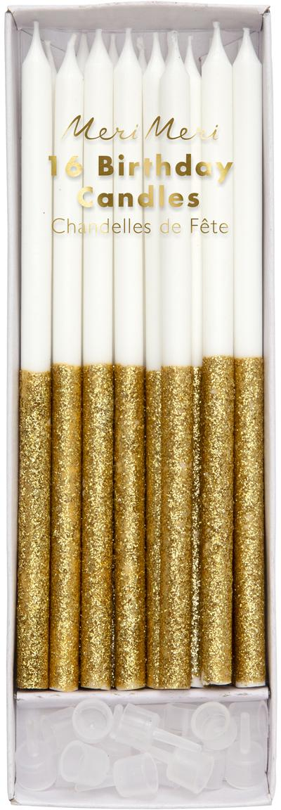 Set de velas de tarta Dippy, 32pzas., Parafina, plástico, Blanco, dorado, Ø 1 x Al 15 cm