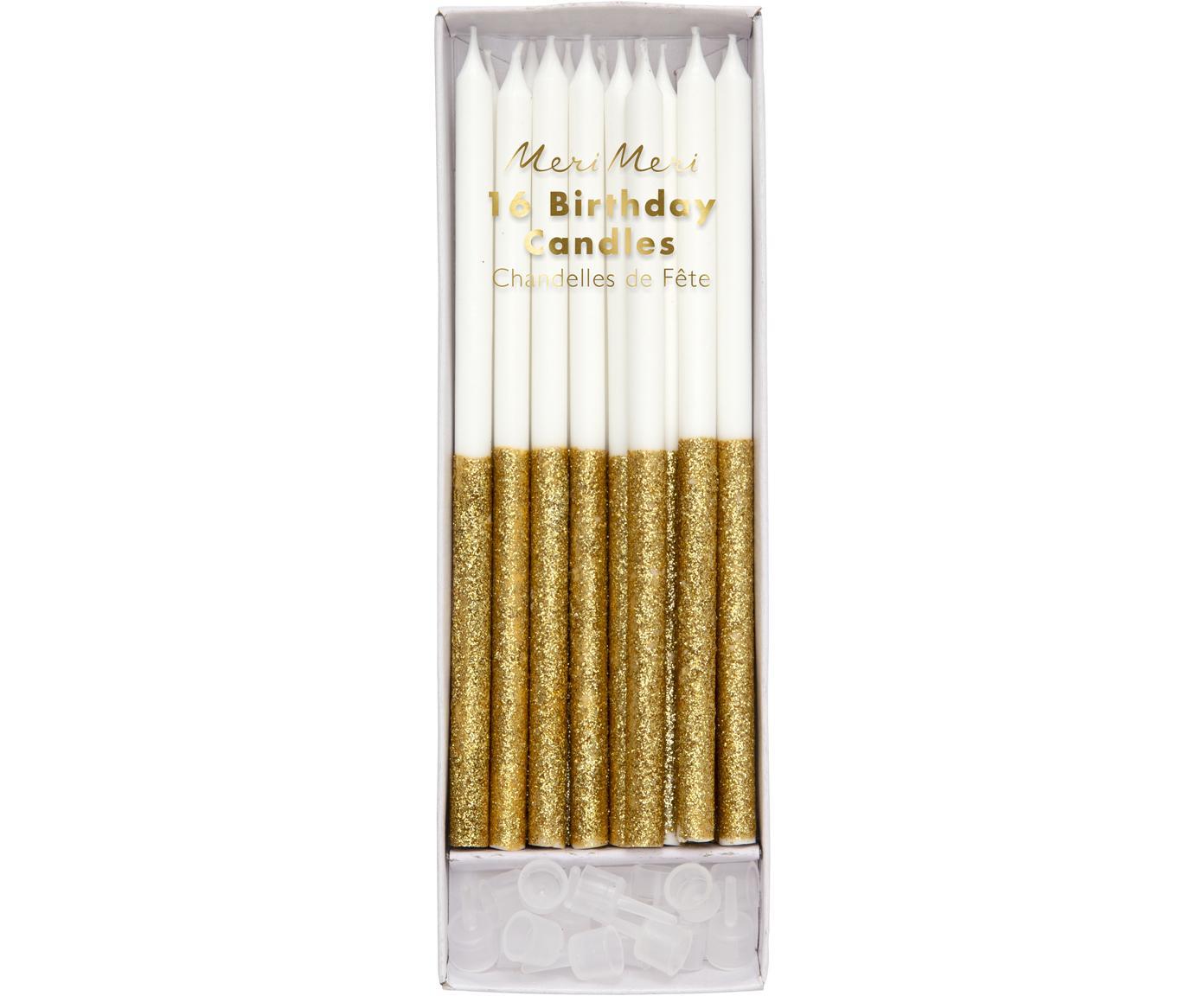 Komplet świeczek tortowych Dippy, 32 elem., Parafina, tworzywo sztuczne, Biały, odcienie złotego, Ø 1 x W 15 cm