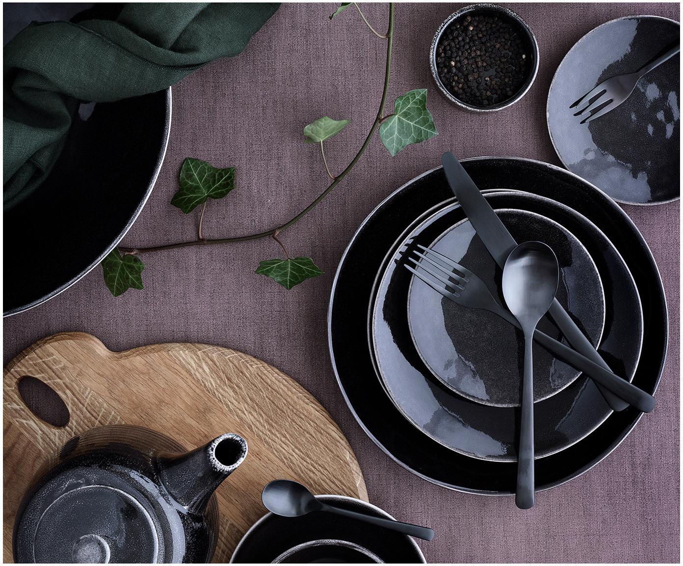 Ręcznie wykonana miska Nordic Coal, 4 szt., Kamionka, Brązowy, Ø 17 x 6 cm