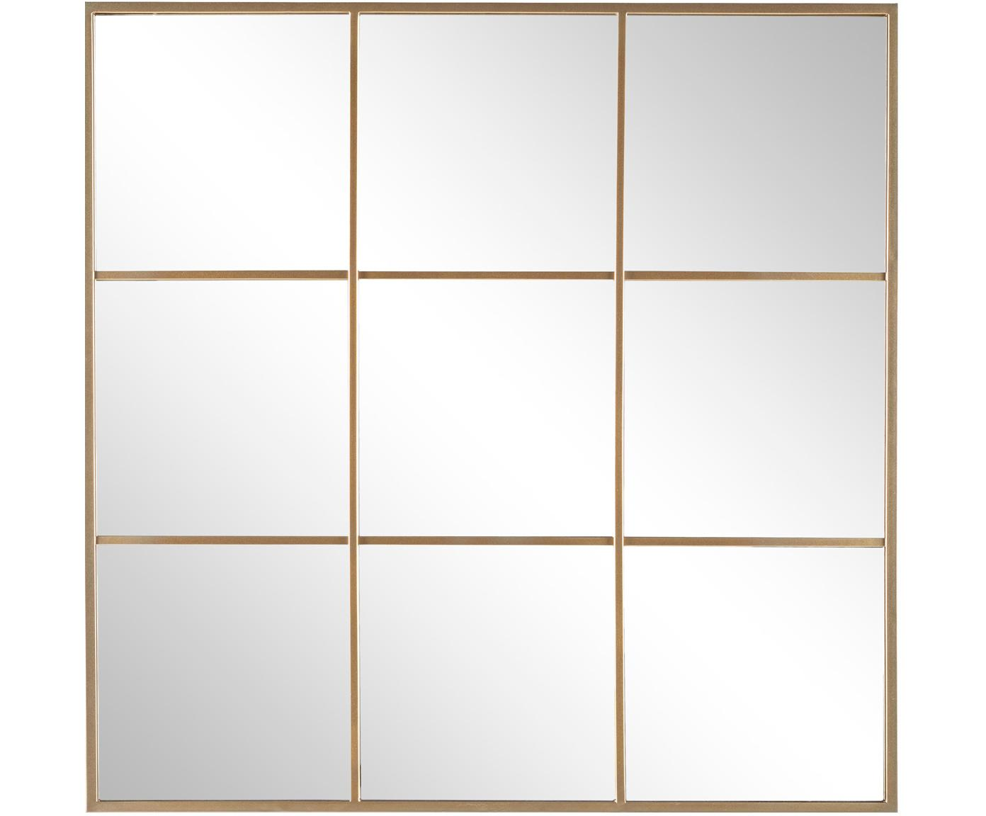 Specchio da parete con cornice in metallo dorato Nucleos, Cornice: metallo rivestito, Superficie dello specchio: lastra di vetro, Dorato, Ø 90 x Alt. 90 cm
